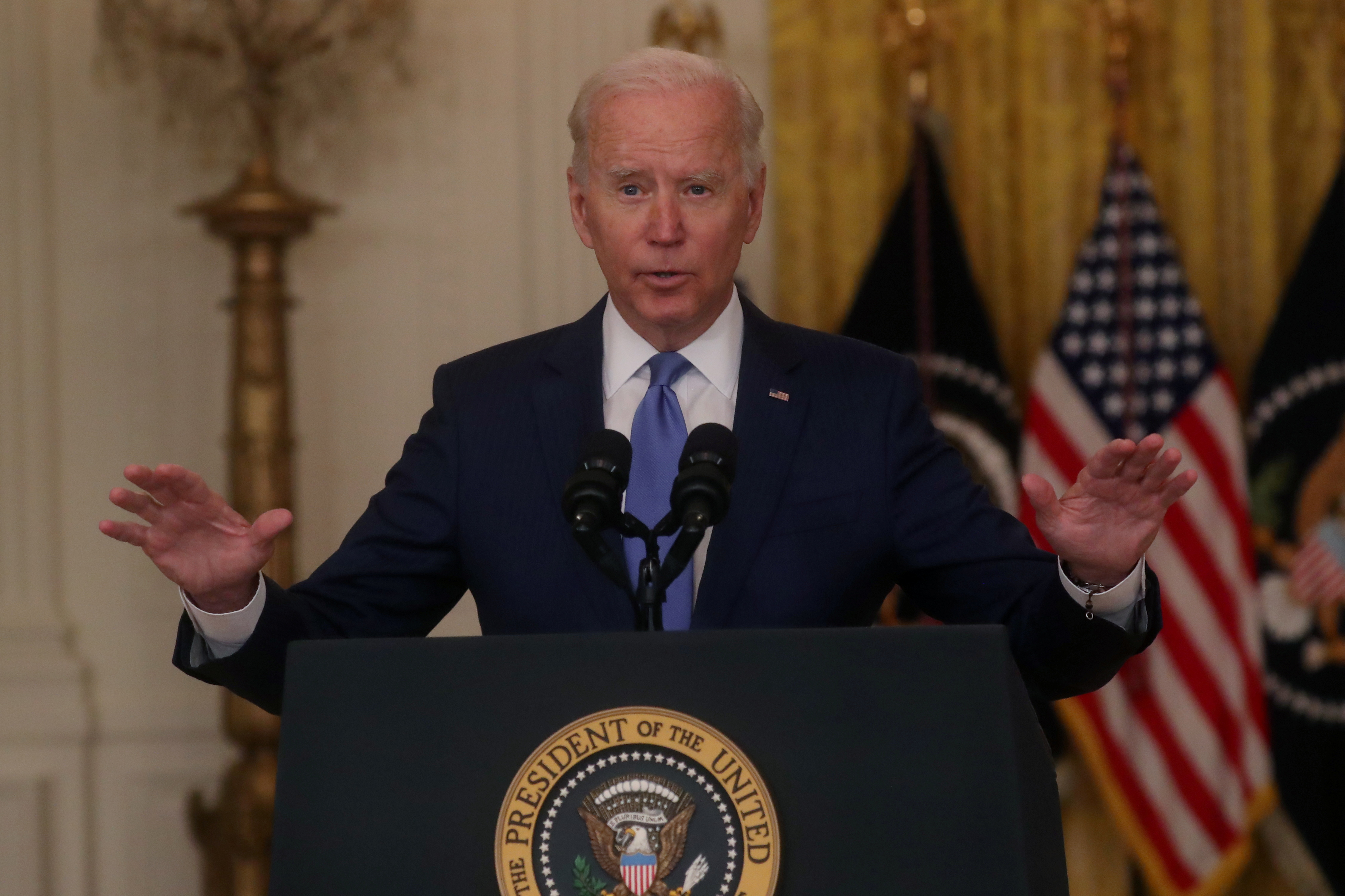 U.S. President Joe Biden delivers remarks on the economy during a speech in the East Room of the White House in Washington, U.S., September 16, 2021. REUTERS/Leah Millis