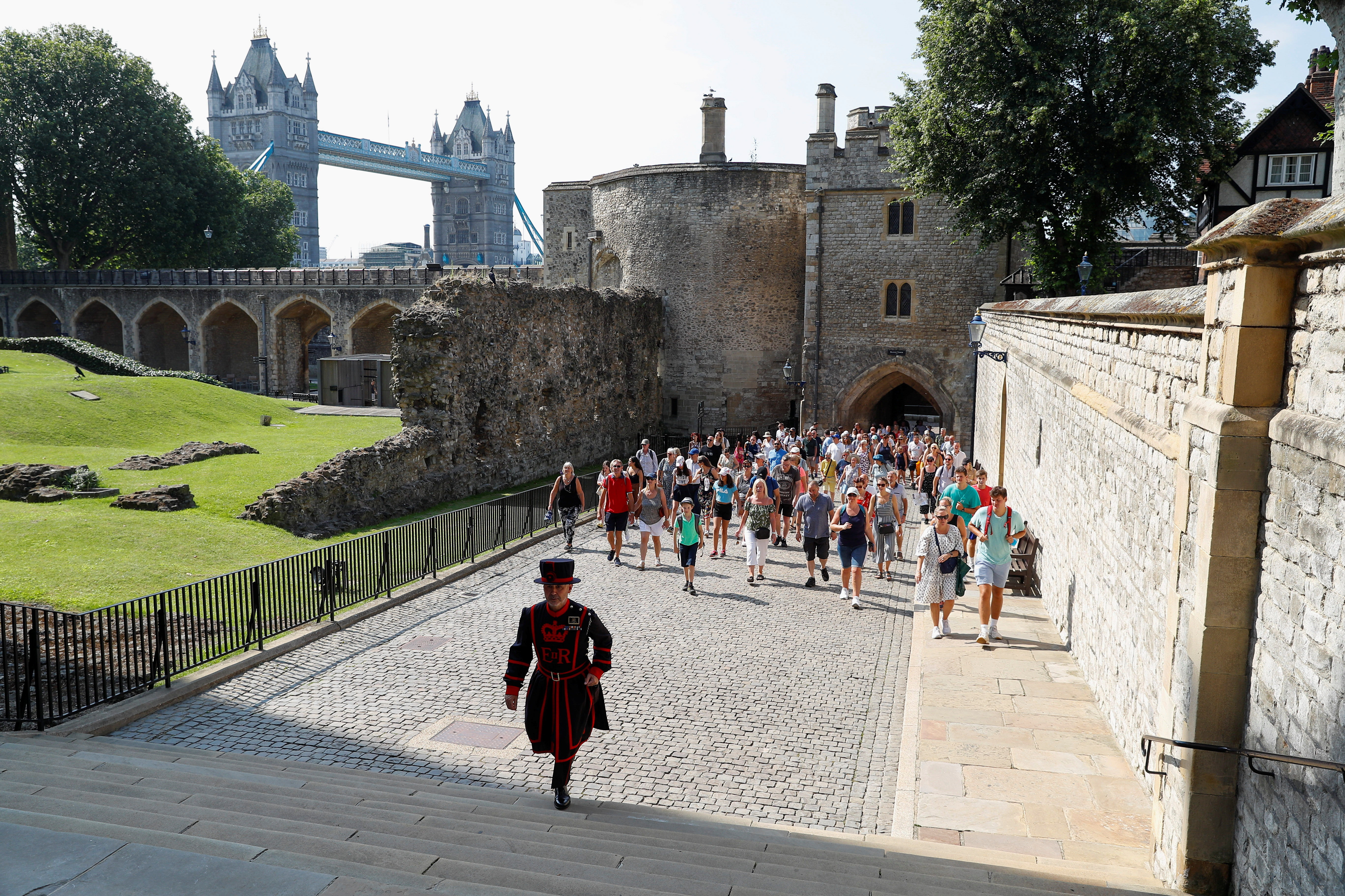 A Yeoman Warder, Barney Chandler leads the first