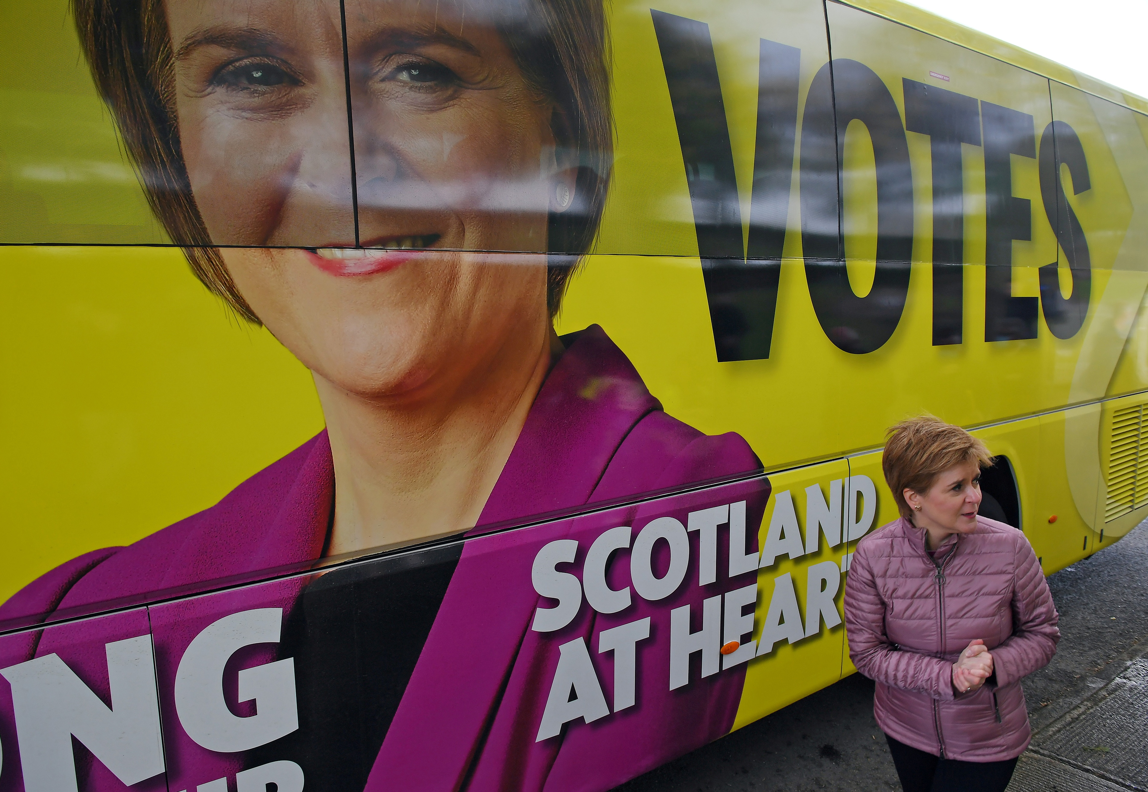 Scotland's First Minister and leader of the Scottish National Party (SNP), Nicola Sturgeon campaigns in Dumbarton, Scotland, Britain May 5, 2021, ahead of the upcoming Scottish Parliament election. Andy Buchanan/Pool via REUTERS