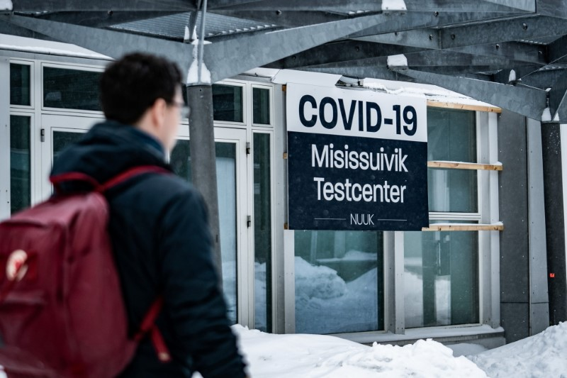 A person looks on outside a coronavirus disease (COVID-19) test center in the center of Nuuk, Greenland March 31, 2021. Emil Helms/Ritzau Scanpix/via REUTERS /File Photo