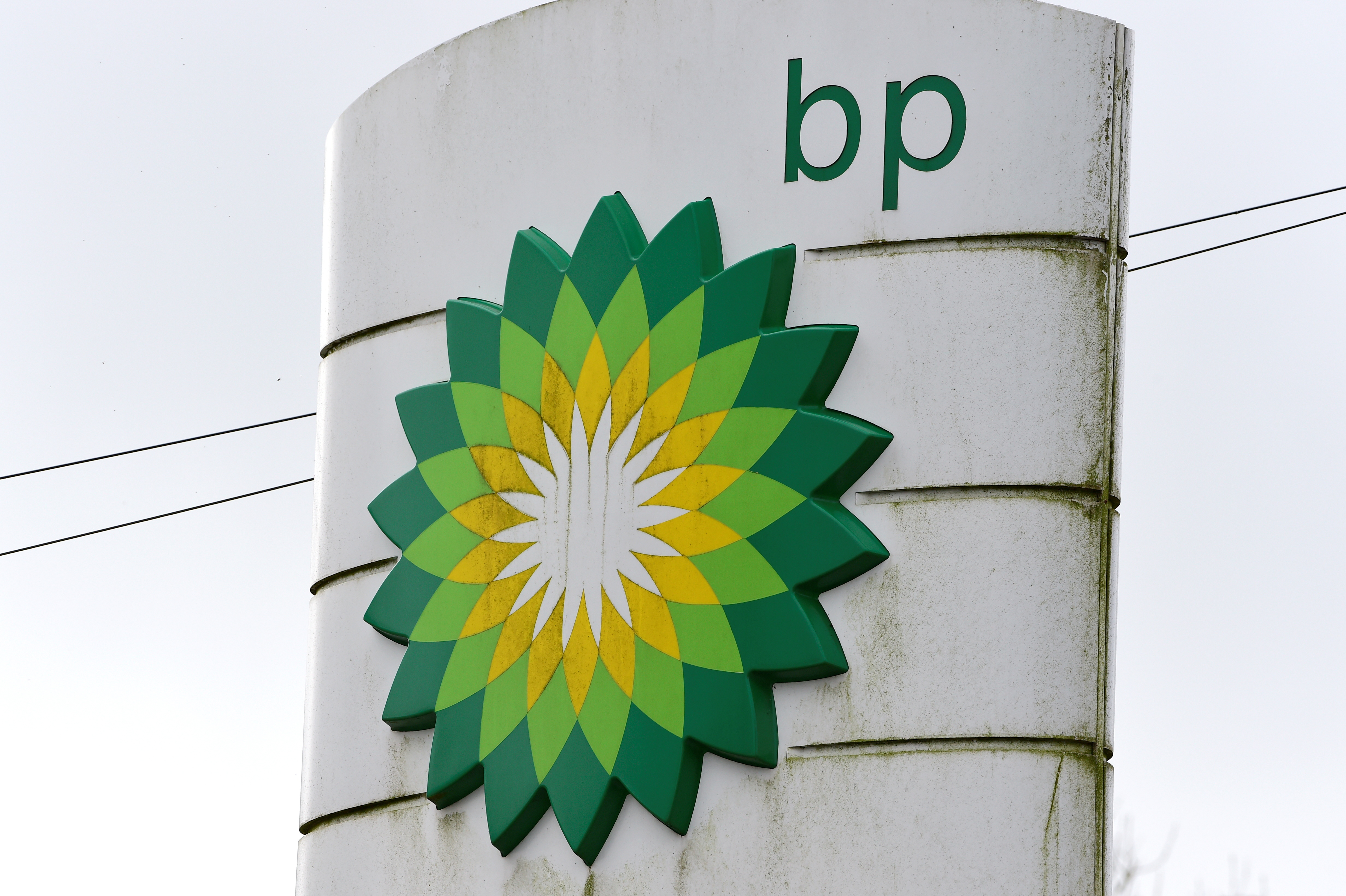A BP logo is pictured at a petrol and diesel filling station, Llanteg, Pembrokeshire, Wales, Britain, September 24, 2021. REUTERS/Rebecca Naden
