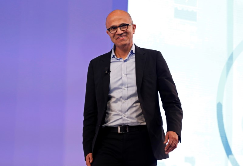 Microsoft Chief Executive Officer Satya Nadella smiles during his conversation about his latest book