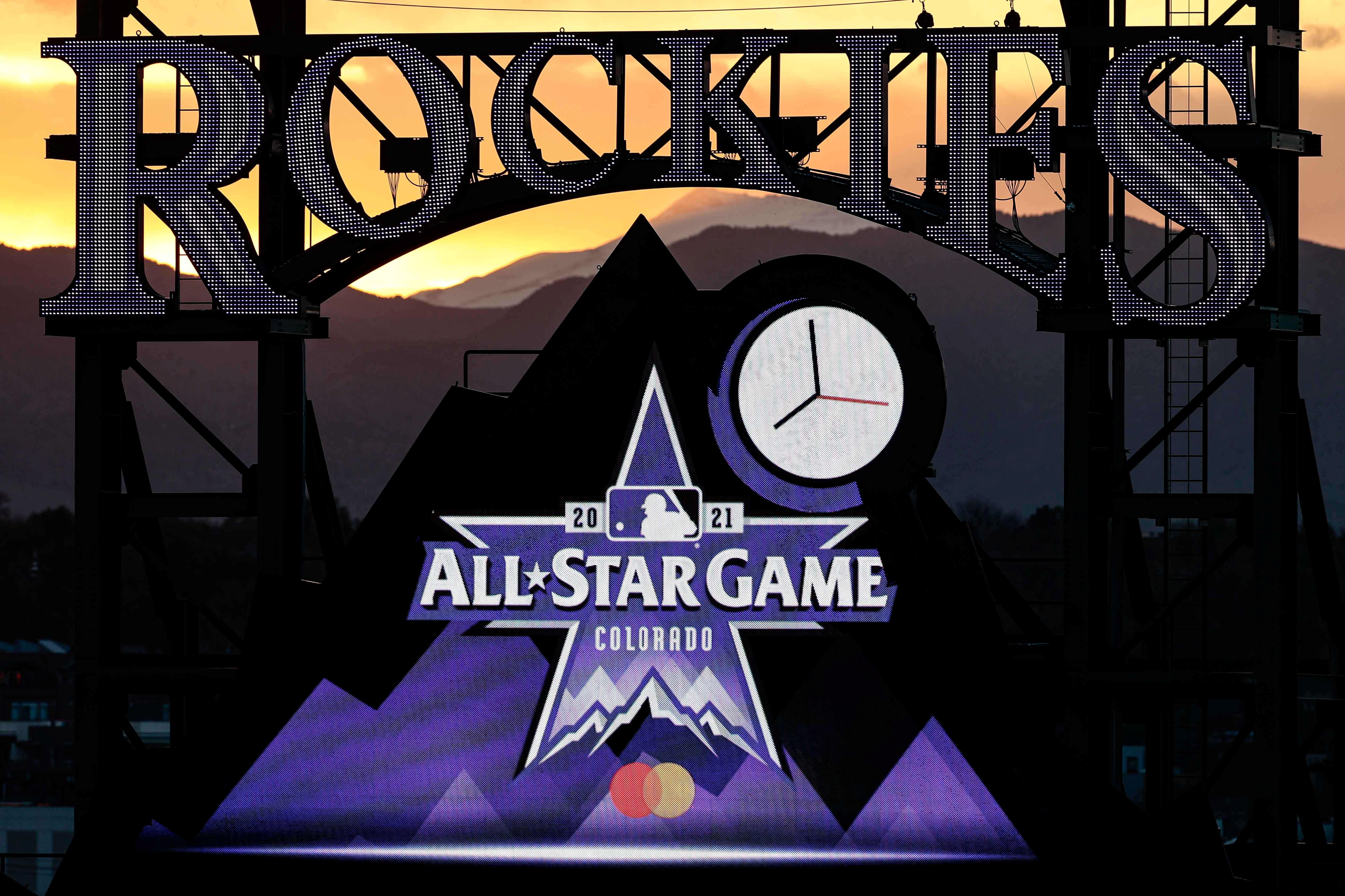 May 13, 2021; Denver, Colorado, USA; Logos for the 2021 MLB All-Star Game are on display during the fourth inning of the game between the Colorado Rockies and the Cincinnati Reds at Coors Field. Mandatory Credit: Isaiah J. Downing-USA TODAY Sports/File Photo