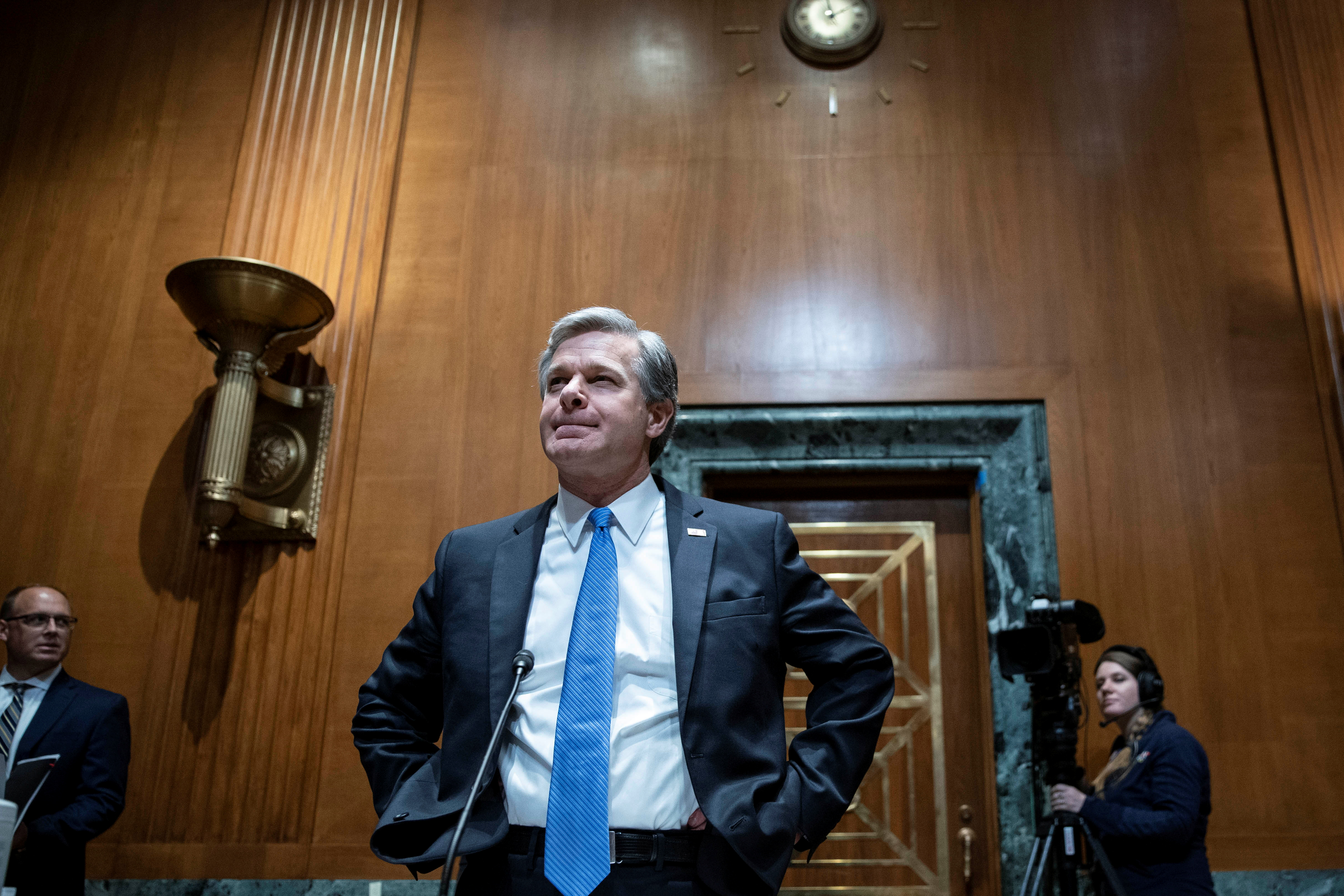 Federal Bureau of Investigation (FBI) Director Christopher Wray prepares to testify before a Senate Appropriations Subcommittee on Commerce, Justice, Science, and Related Agencies on Capitol Hill in Washington, U.S., June 23, 2021. Sarah Silbiger/Pool via REUTERS