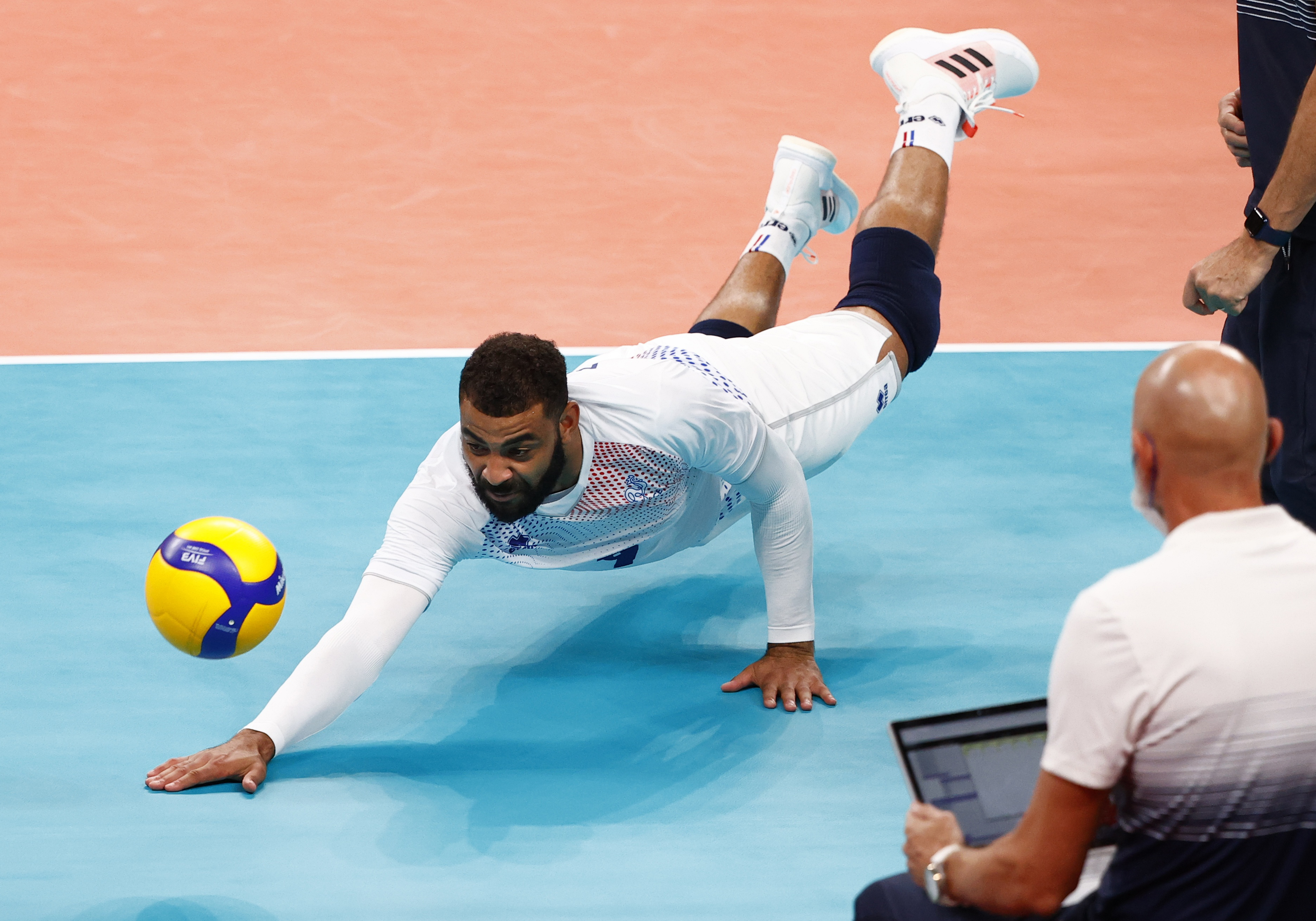 Tokyo 2020 Olympics - Volleyball - Men's Pool B - Brazil v France - Ariake Arena, Tokyo, Japan – August 1, 2021. Earvin Ngapeth of France in action. REUTERS/Carlos Garcia Rawlins