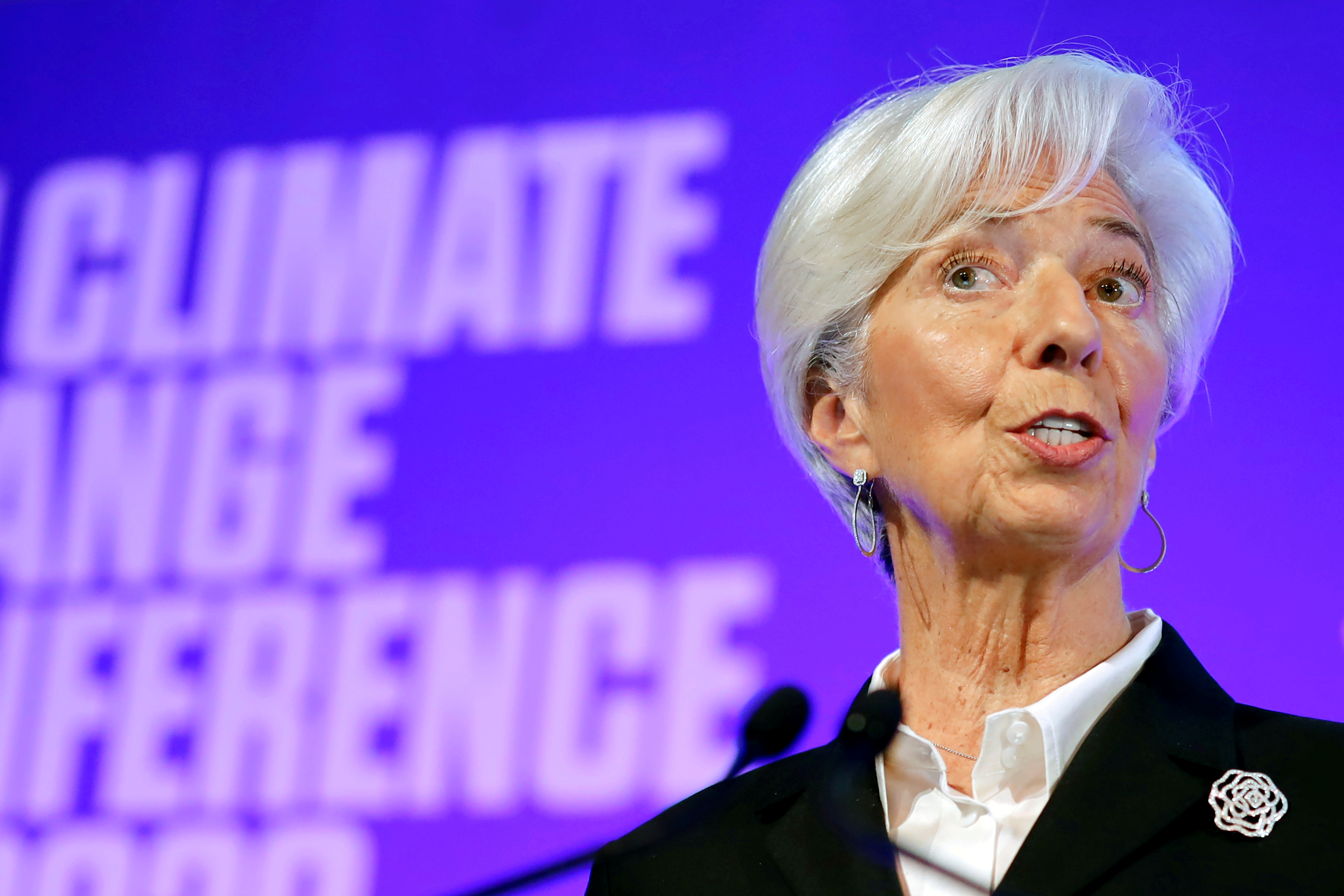 European Central Bank (ECB) President Christine Lagarde addresses an event to launch the private finance agenda for the 2020 United Nations Climate Change Conference (COP26) at Guildhall in London, Britain February 27, 2020.   Tolga Akmen/Pool via REUTERS
