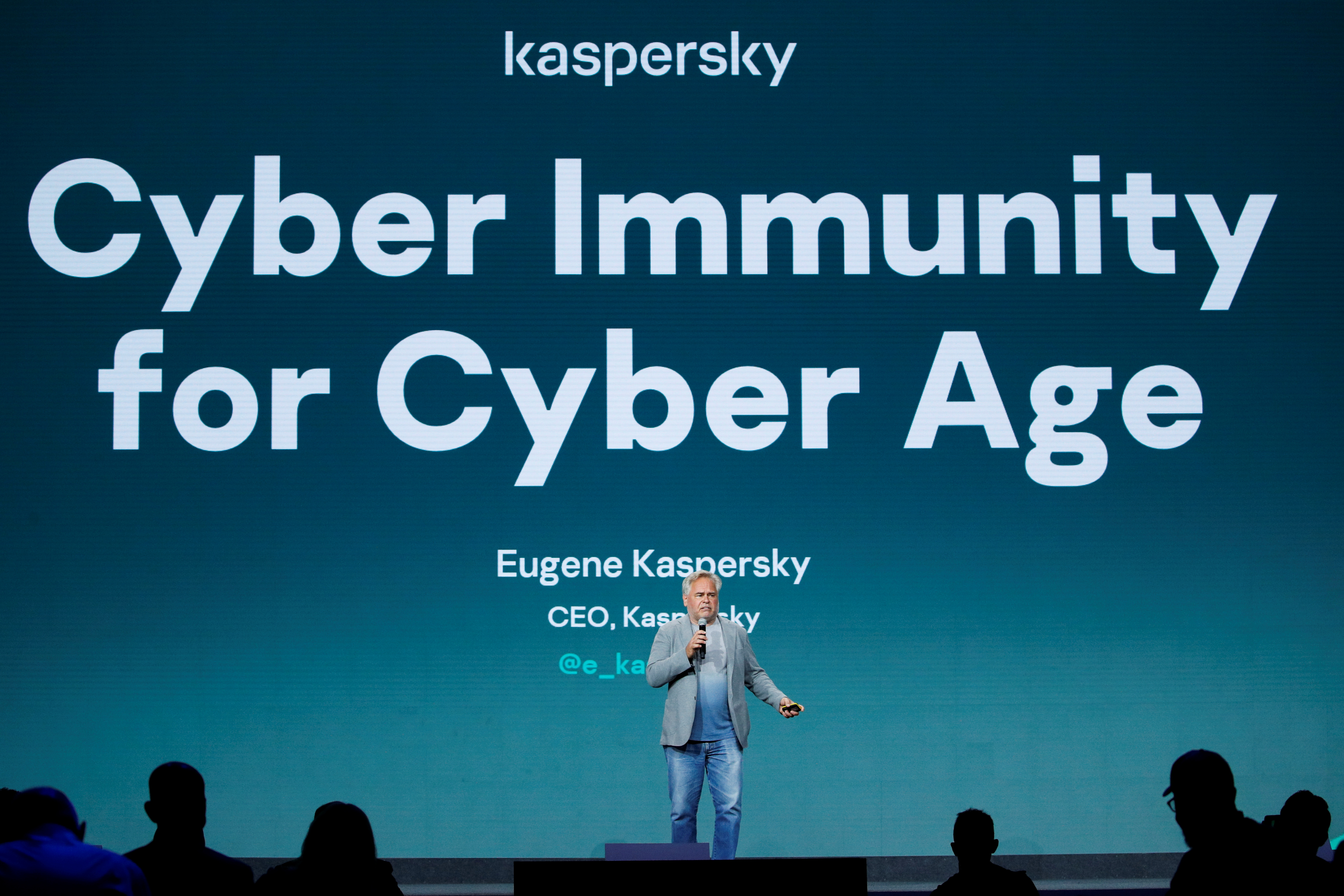 Eugene Kaspersky, CEO of Kaspersky Lab gives a speech during the Mobile World Congress (MWC) in Barcelona, Spain, June 28, 2021. REUTERS/Albert Gea