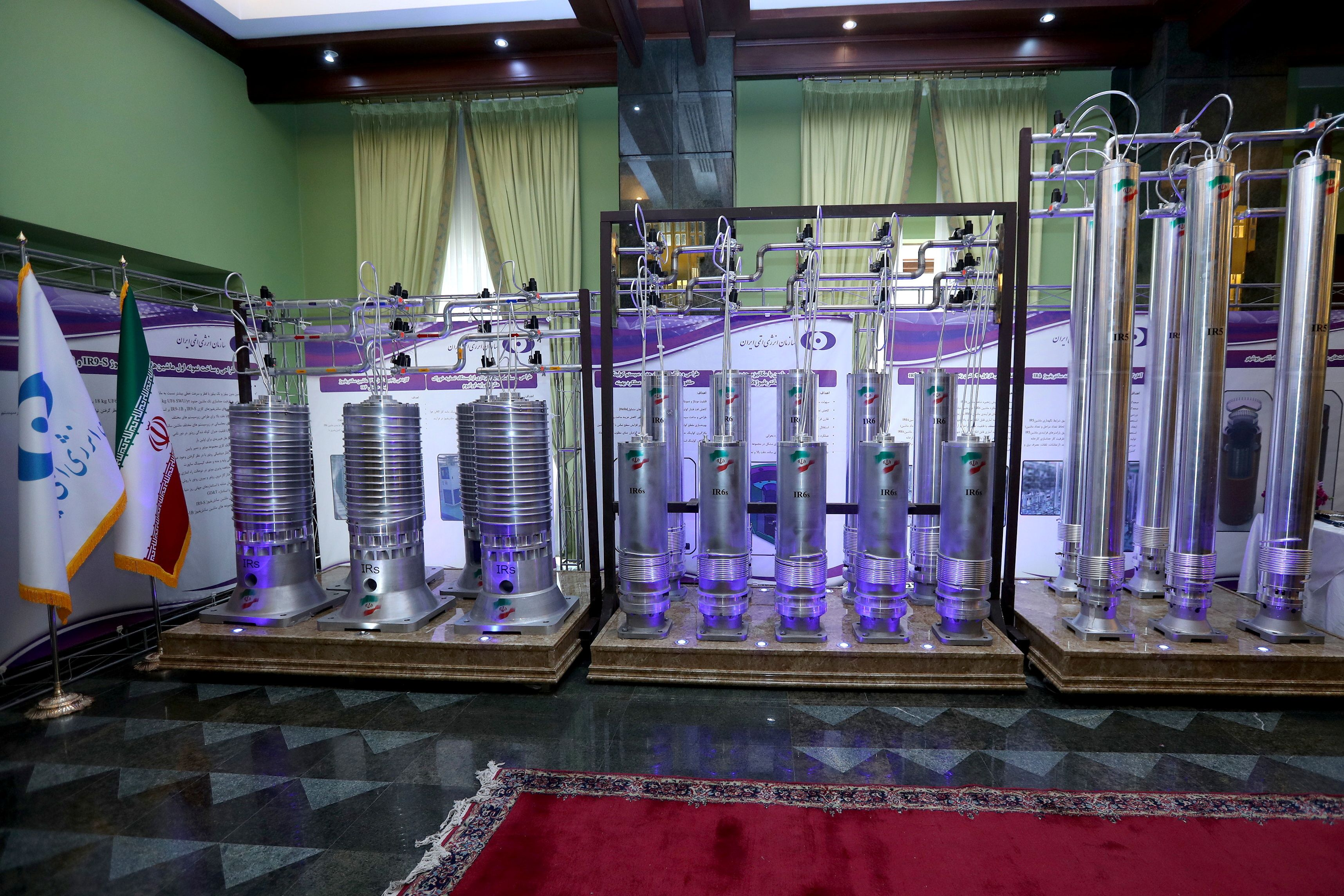 A number of new generation Iranian centrifuges are seen on display during Iran's National Nuclear Energy Day in Tehran, Iran April 10, 2021. Iranian Presidency Office/WANA (West Asia News Agency)/Handout via REUTERS