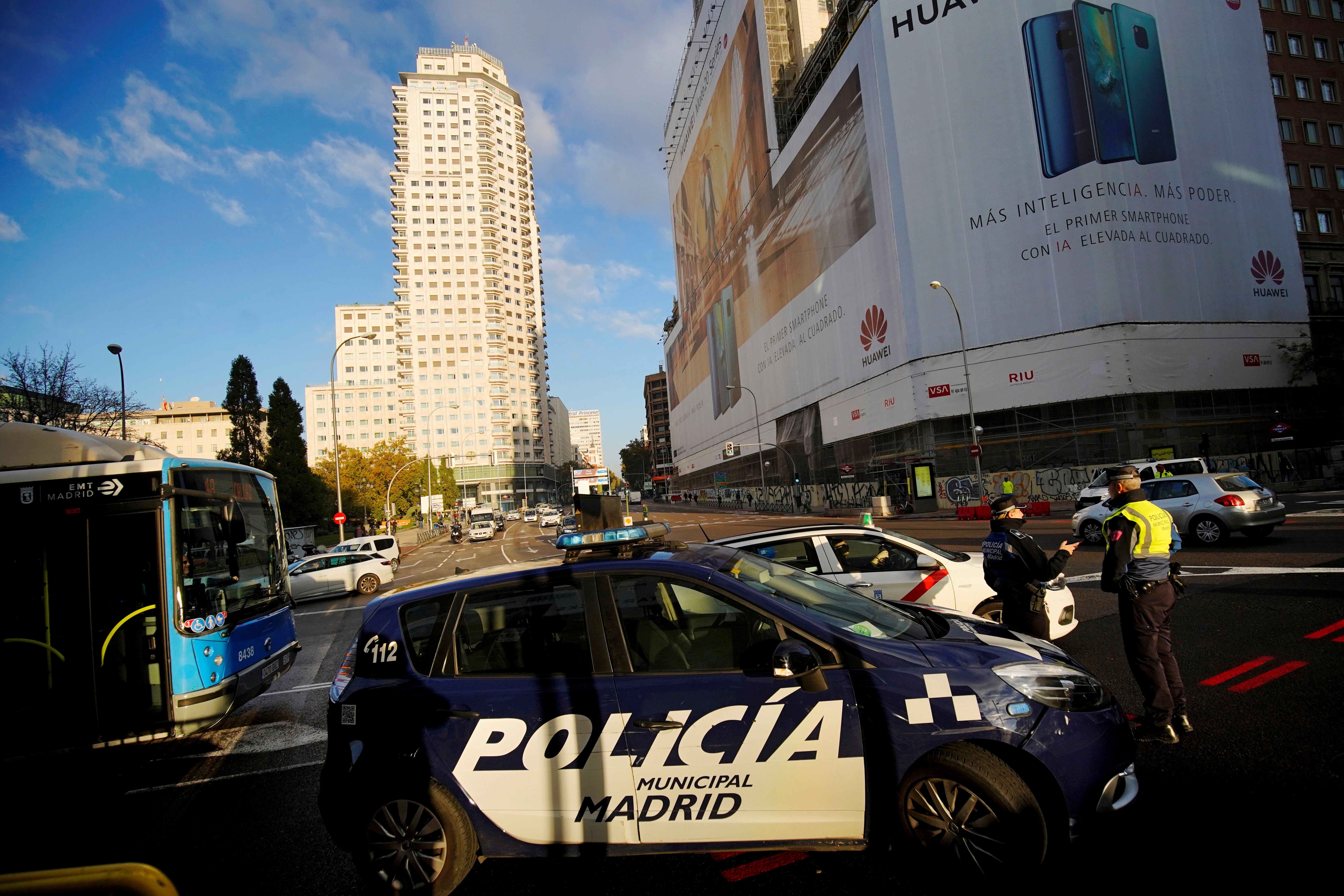 Local police officers are seen during the first day of a ban on polluting vehicles in the city center as they only allow non-polluting cars with the right sticker, in Madrid, Spain, November 30, 2018. REUTERS/Juan Medina