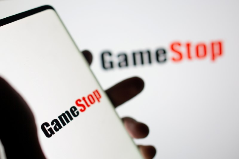 GameStop logo is seen in this illustration taken February 2, 2021. REUTERS/Dado Ruvic/Illustration/File Photo
