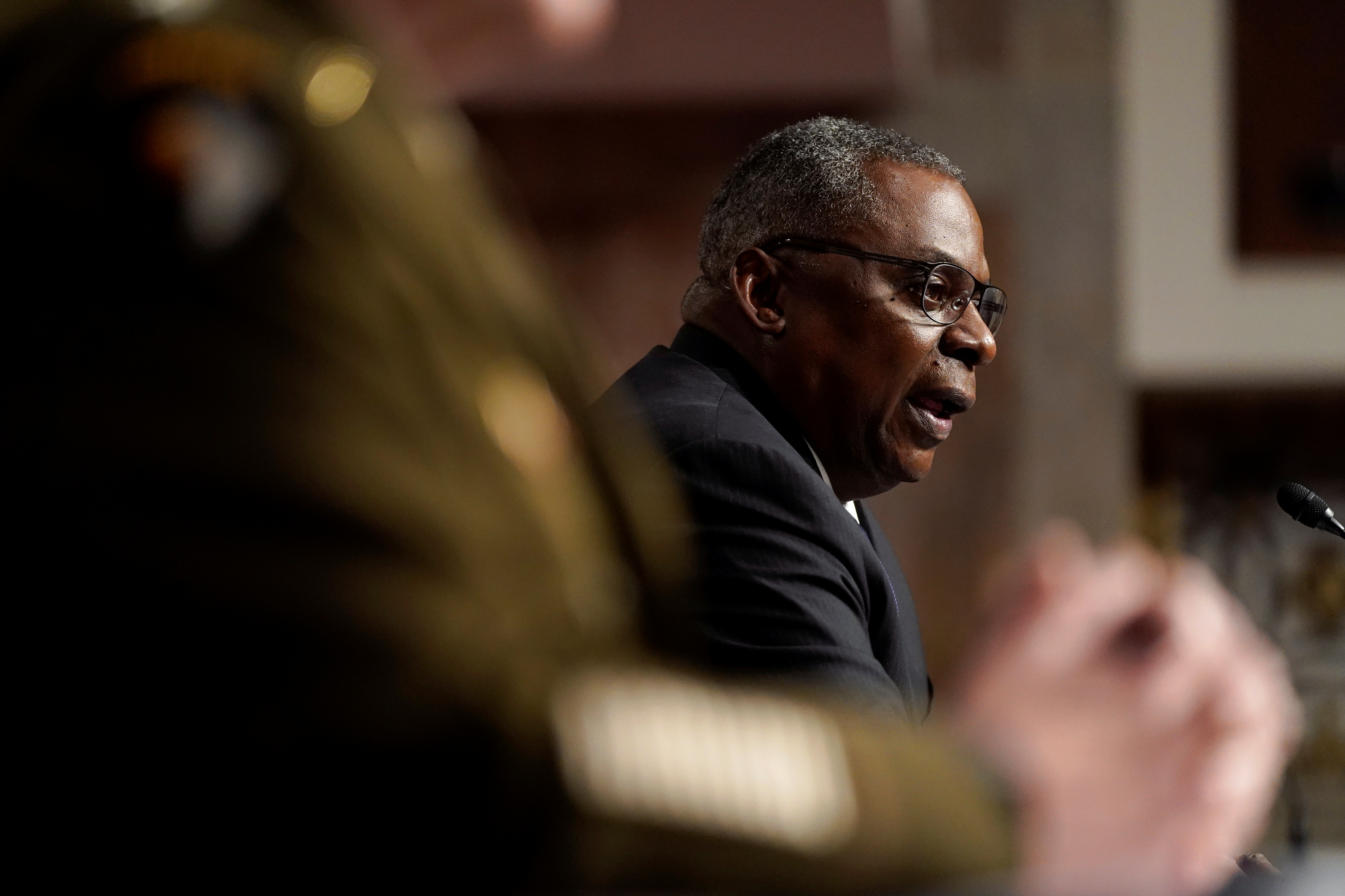 U.S. Defense Secretary Lloyd Austin speaks during a Senate Armed Services Committee hearing on the conclusion of military operations in Afghanistan and plans for future counterterrorism operations, on Capitol Hill in Washington, U.S., September 28, 2021. Patrick Semansky/Pool via REUTERS