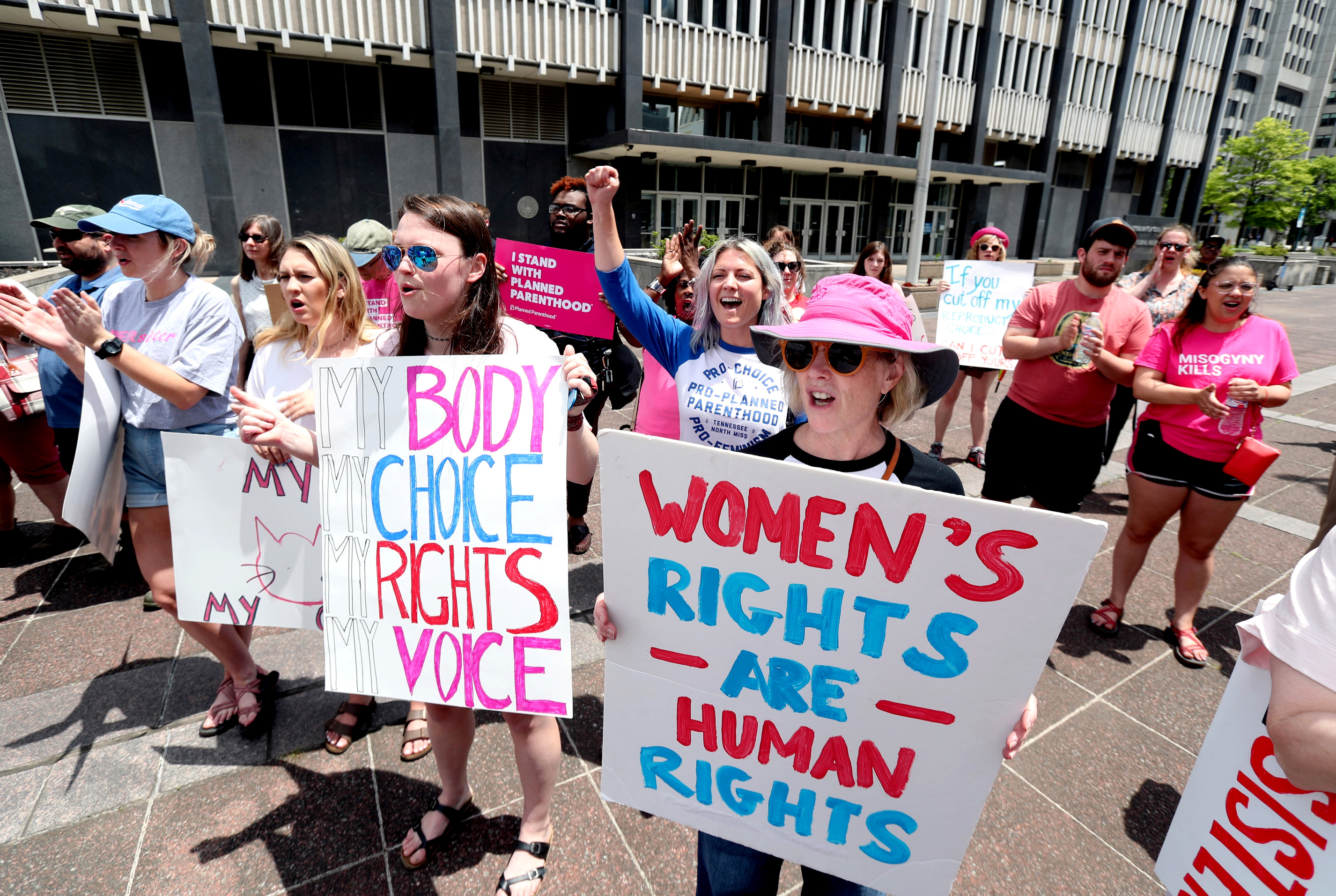 File photo: Pro-choice activists assemble in downtown Memphis during a