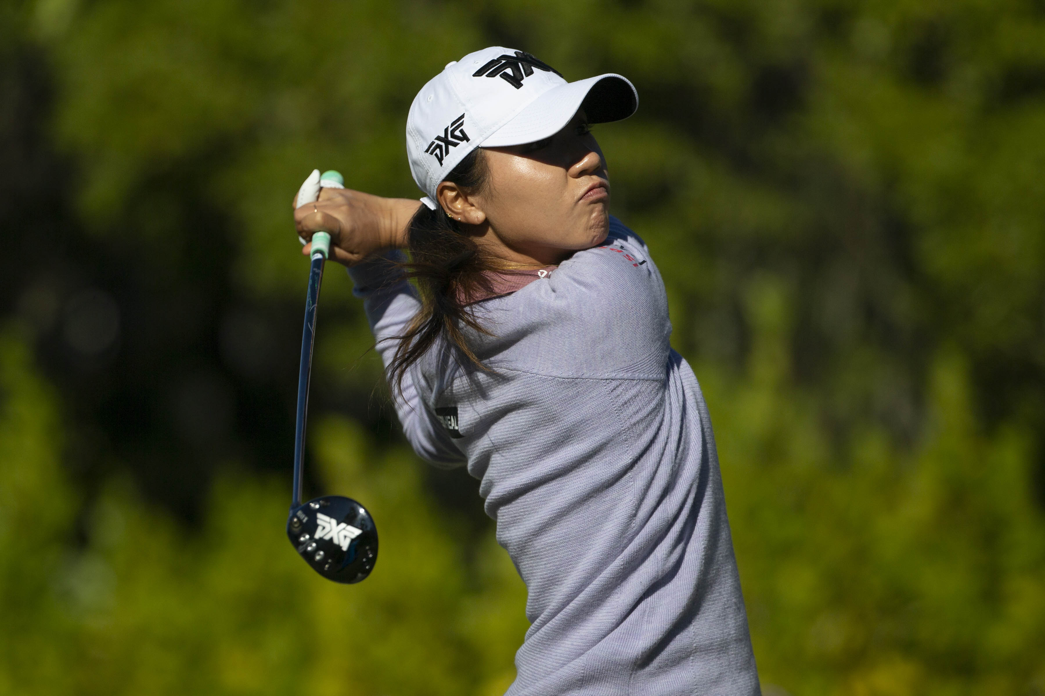 Dec 19, 2020; Naples, Florida, USA;  Lydia Ko tees off at the first hole during the CME Group Tour Championship third round, Saturday, Dec. 19, 2020, at the Tiburon Golf Club in North Naples, Florida.  Mandatory Credit: Jon Austria-USA TODAY NETWORK