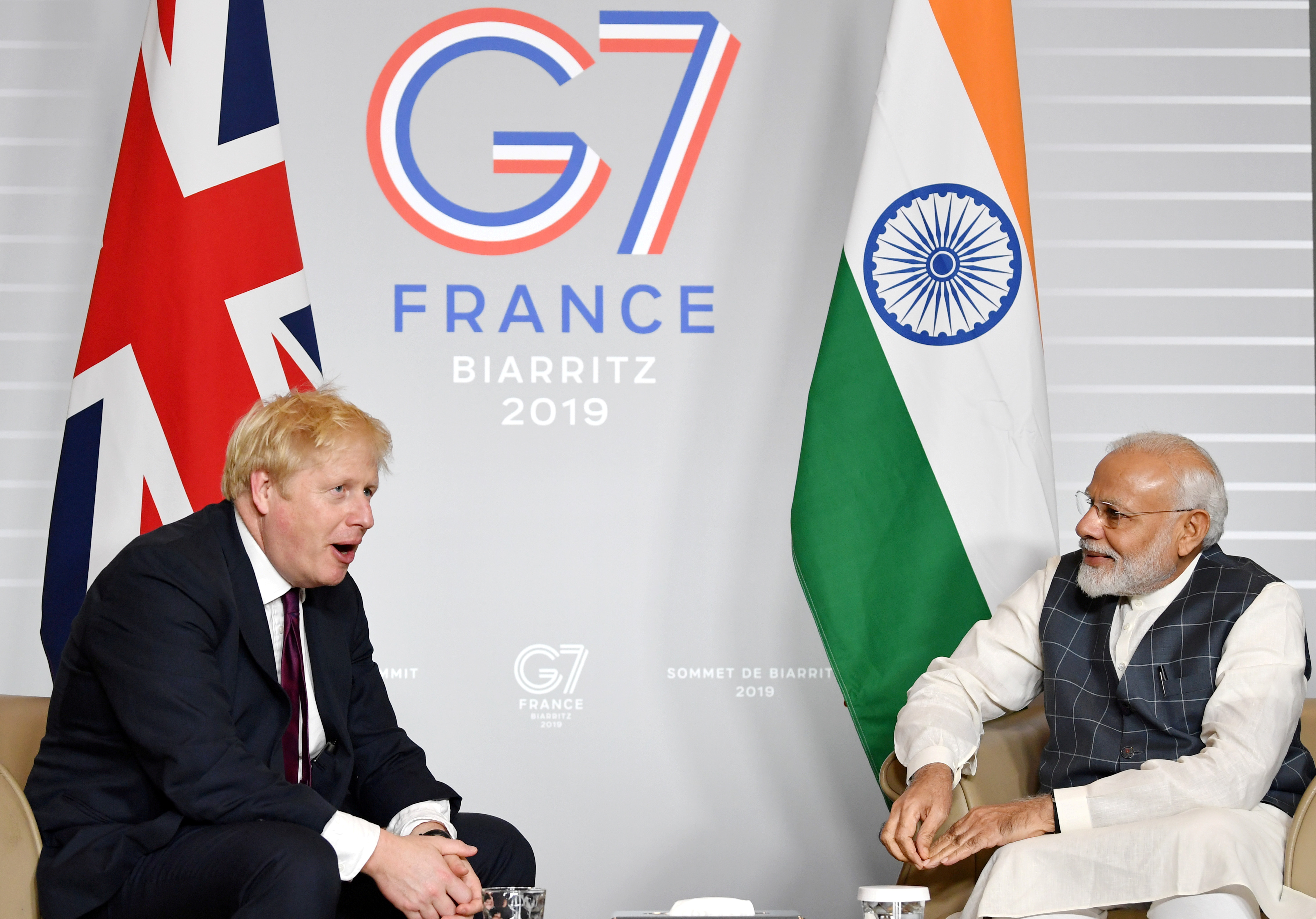 Britain's Prime Minister Boris Johnson meets Indian Prime Minister Narendra Modi at a bilateral meeting during the G7 summit in Biarritz, France August 25, 2019. Jeff J Mitchell/Pool via REUTERS