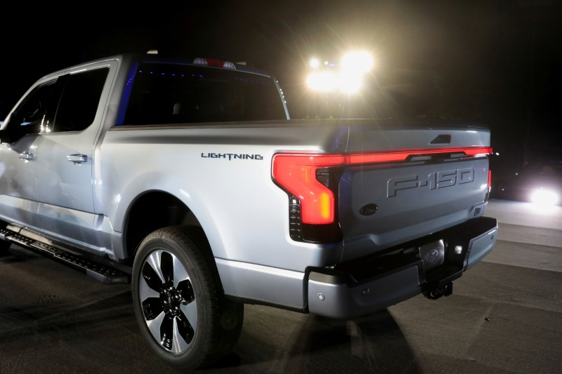 The all-electric Ford F-150 Lightning pickup truck is unveiled at the company's world headquarters in Dearborn, Michigan, U.S., May 19, 2021. REUTERS/Rebecca Cook/File Photo