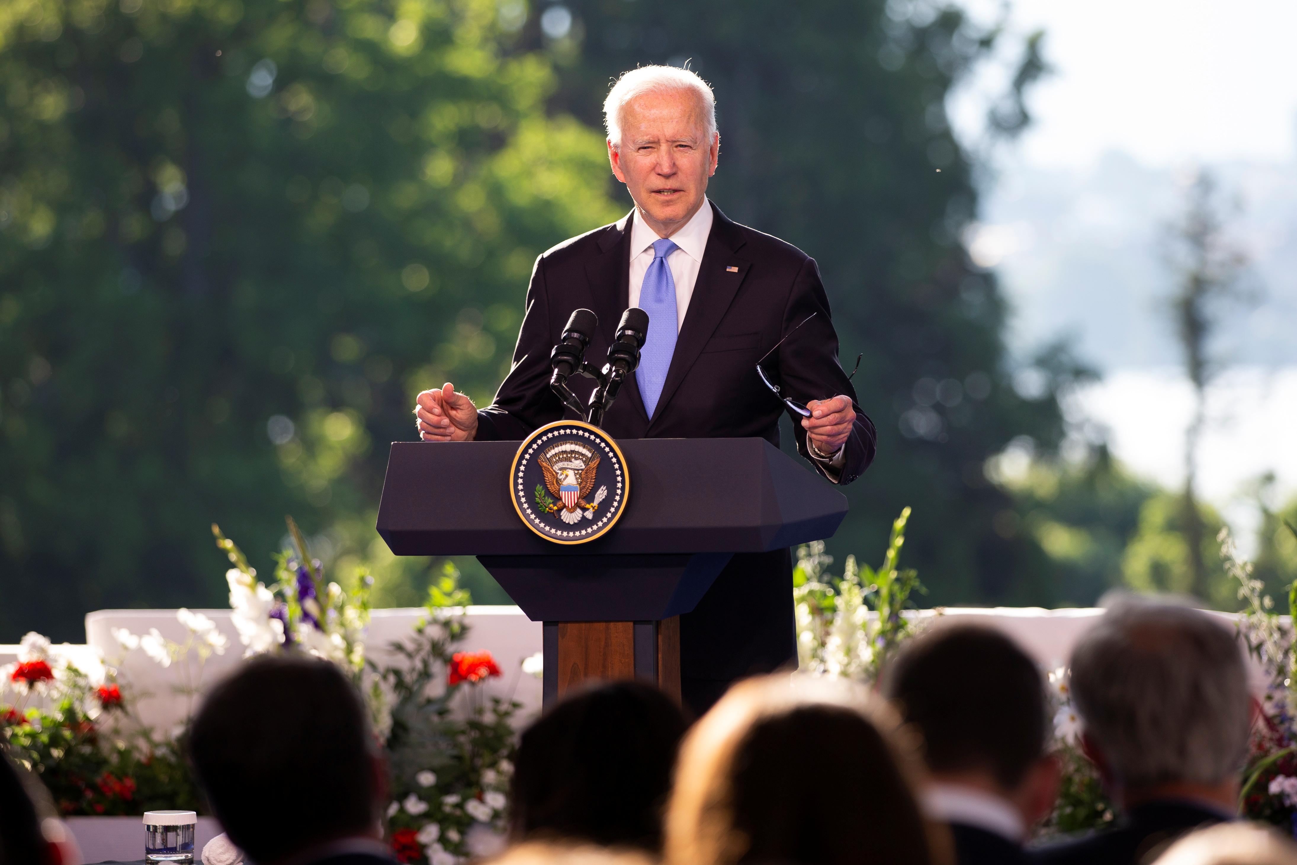 U.S. President Joe Biden holds a news conference after the U.S.-Russia summit with Russia's President Vladimir Putin, in Geneva, Switzerland, June 16, 2021. Peter Klaunzer/ Pool via REUTERS