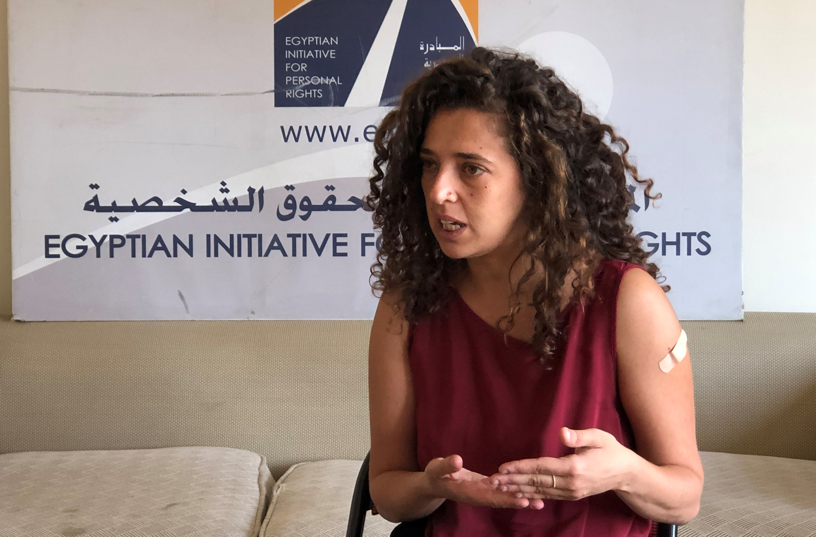 Lobna Darwish, gender and women rights officer at Egyptian Initiative for Personal Rights, speaks during an interview with Reuters in Cairo, Egypt, June 27, 2021. REUTERS/Staff