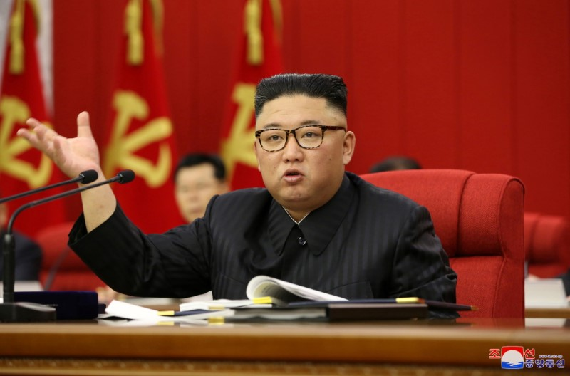 North Korean leader Kim Jong Un speaks during the opening of the 3rd Plenary Meeting of the 8th Central Committee of the Workers' Party of Korea (WPK), in Pyongyang, North Korea, in this undated photo released on June 16, 2021 by North Korea's Korean Central News Agency (KCNA). KCNA/via REUTERS