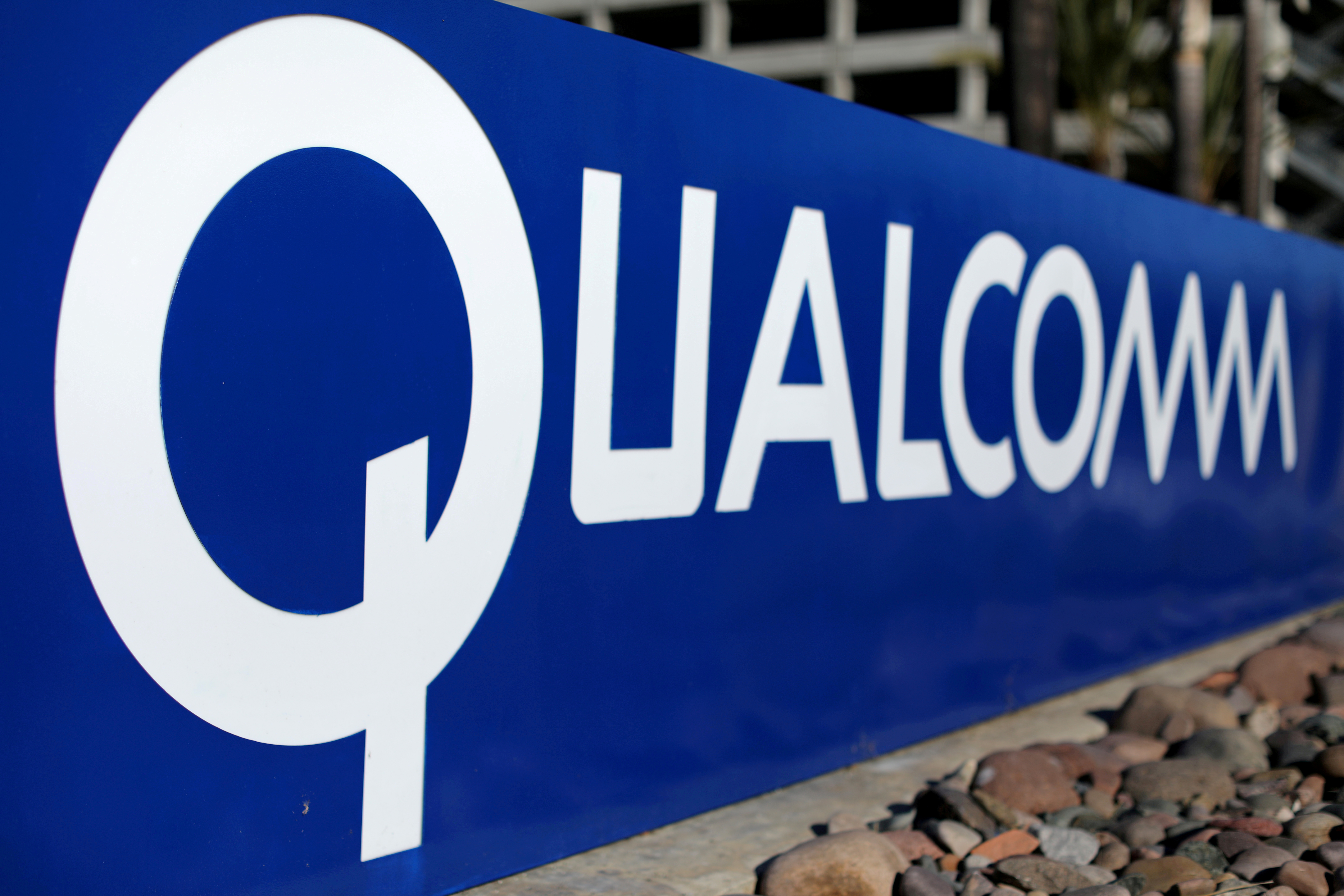 A sign on the Qualcomm campus is seen in San Diego, California, U.S. November 6, 2017. REUTERS/Mike Blake