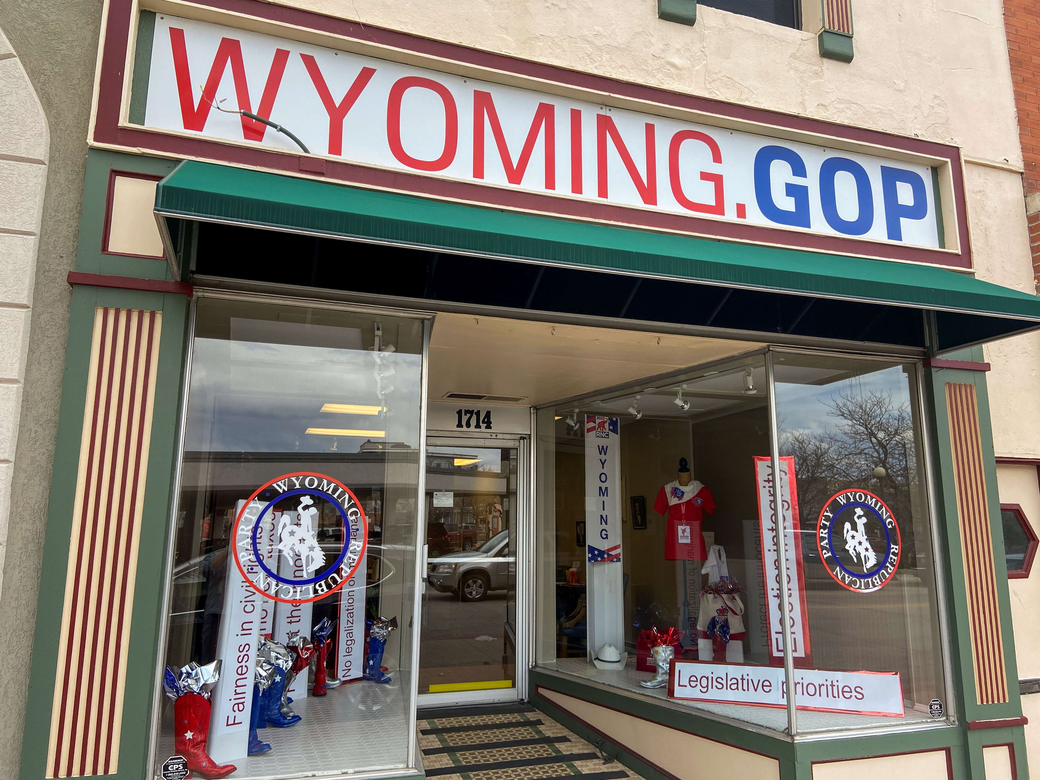 The exterior of the Wyoming Republican Party's headquarters in Cheyenne, Wyoming, U.S., May  7, 2021. Picture taken May  7, 2021. REUTERS/Nathan Layne