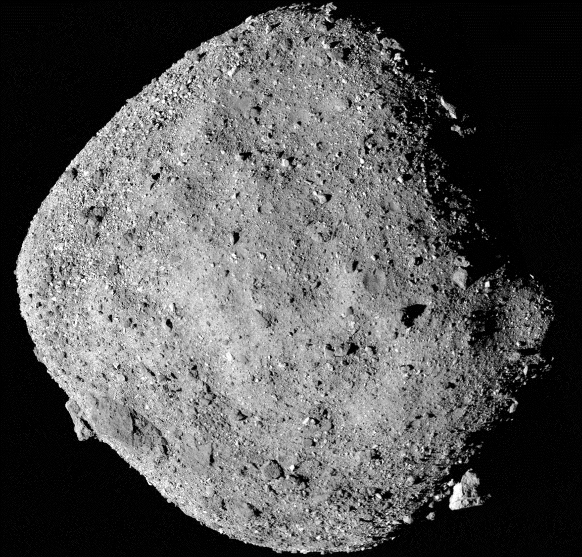 A mosaic image of asteroid Bennu, composed of 12 PolyCam images collected on December 2, 2018 by the OSIRIS-REx spacecraft from a range of 15 miles (24 km).  NASA/Goddard/University of Arizona/Handout via REUTERS