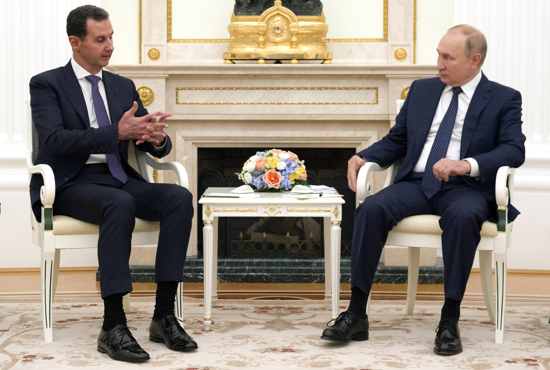 Russian President Vladimir Putin attends a meeting with Syrian President Bashar al-Assad at the Kremlin in Moscow, Russia, September 13, 2021. Picture taken September 13, 2021. Sputnik/Mikhail Klimentyev/Kremlin via REUTERS