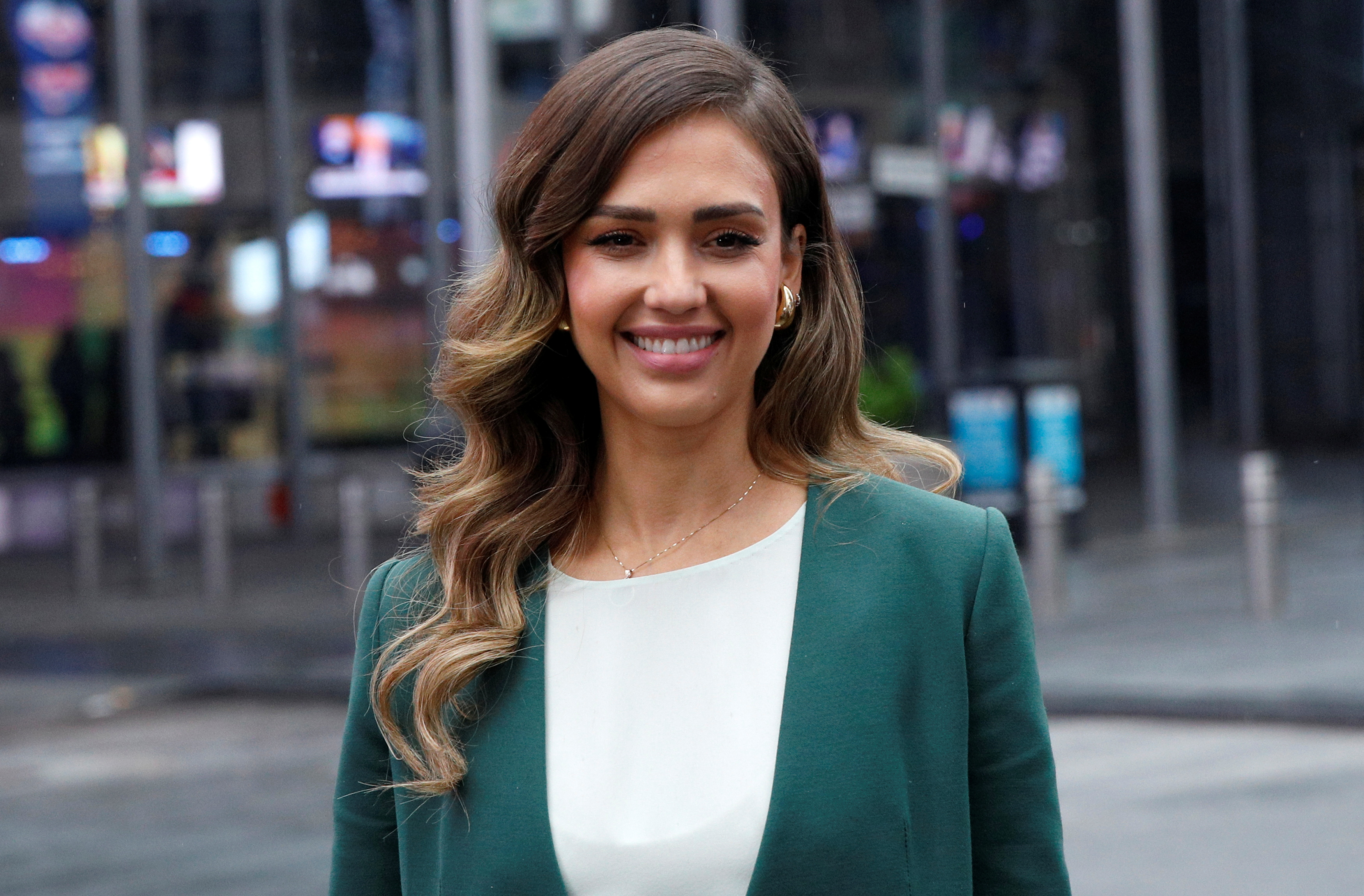 Jessica Alba, actor and businesswoman, poses during the IPO of The Honest Co at the Nasdaq Market site in New York City, May 5, 2021. REUTERS/Brendan McDermid
