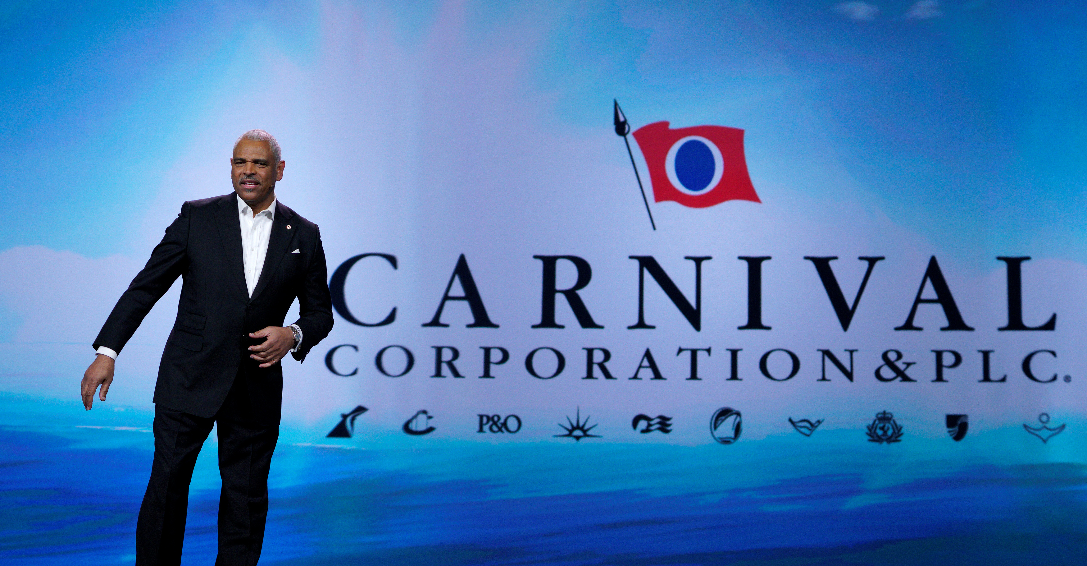 Arnold Donald, CEO of Carnival Corp. takes the stage to deliver his keynote address at CES in Las Vegas, U.S., January 5, 2017.  REUTERS/Rick Wilking