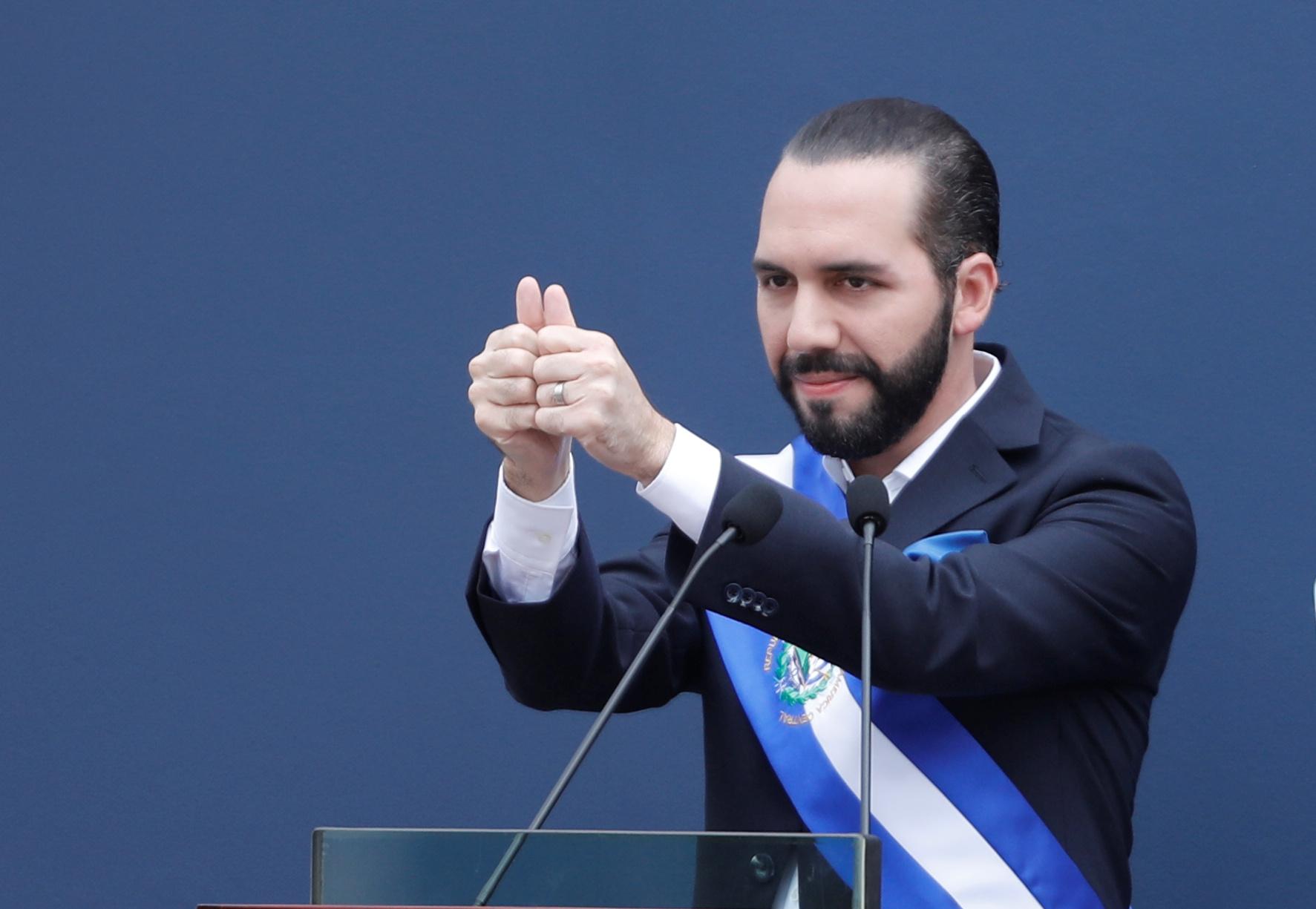 New Salvadoran President Nayib Bukele speaks after receiving the presidential sash during a swearing-in ceremony in San Salvador, El Salvador June 1, 2019. REUTERS/Jose Cabezas