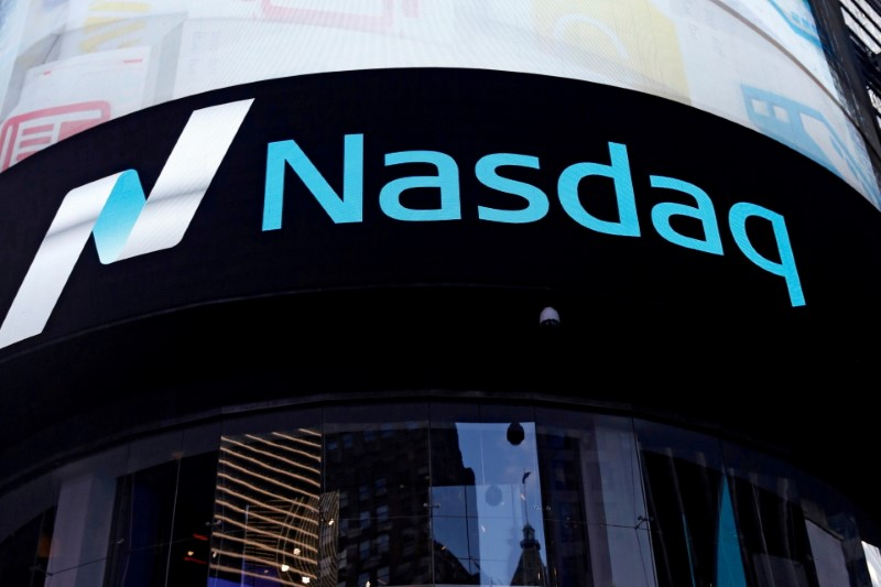 A view of the exterior of the Nasdaq market site in the Manhattan borough of New York City, U.S., October 24, 2016.  REUTERS/Shannon Stapleton/File Photo/File Photo