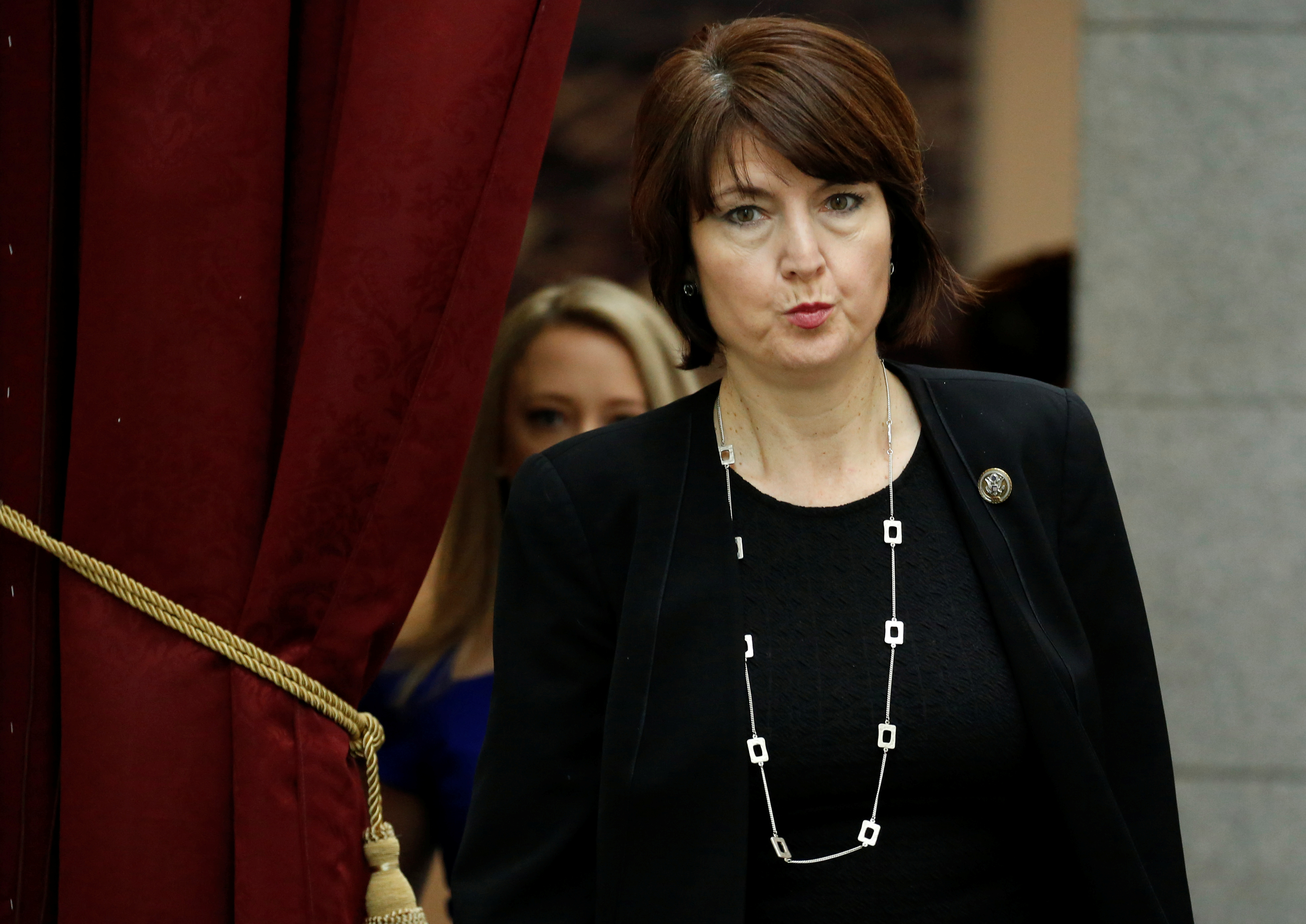Rep. Cathy McMorris Rodgers (R-WA) arrives for a Republican caucus meeting ahead of an expected vote in the Republican-led U.S. House of Representatives on a short-term budget measure that would avert a rerun of last month's three-day partial government shutdown on Capitol Hill in Washington, U.S., February 6, 2018. REUTERS/Joshua Roberts