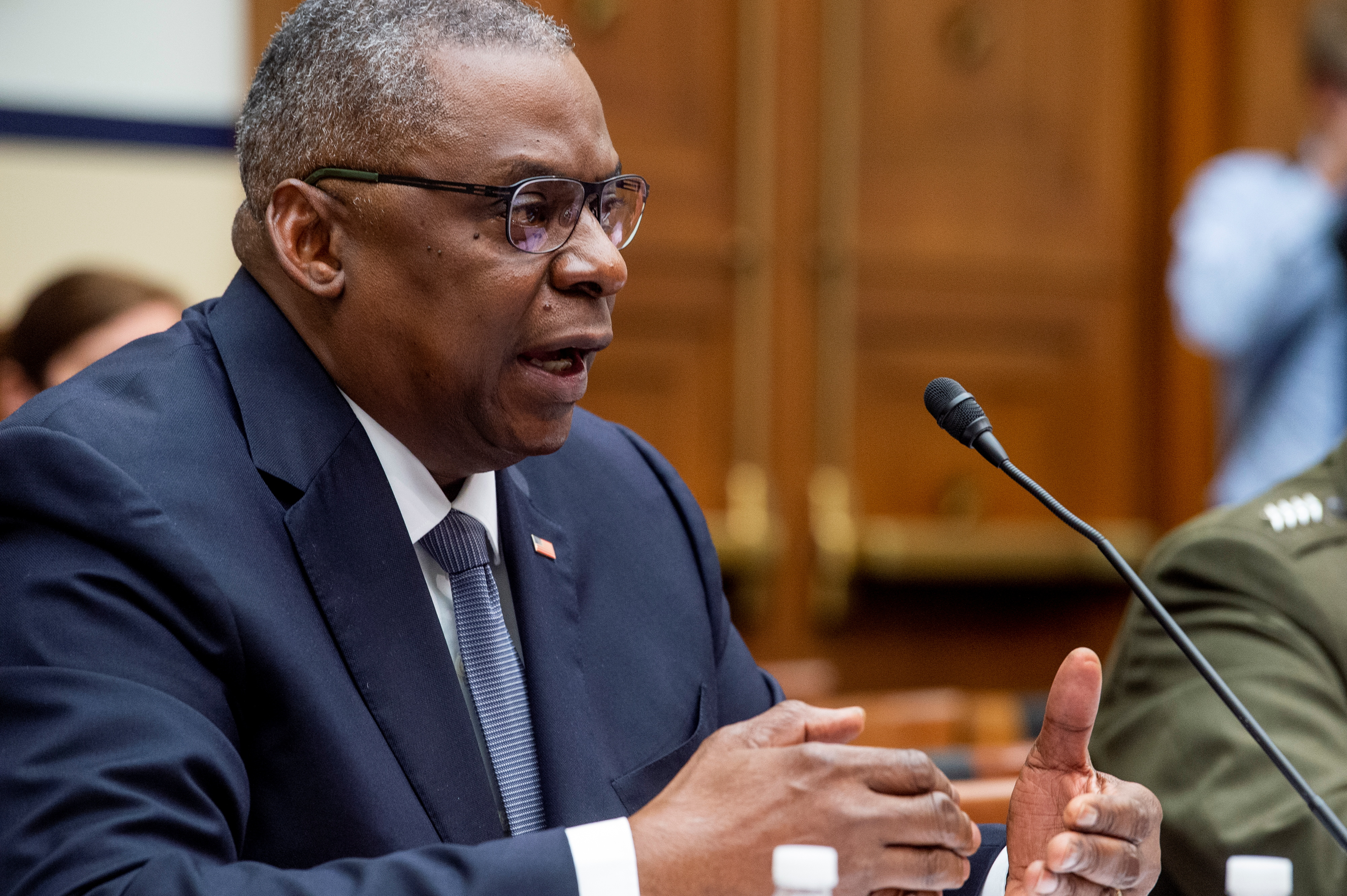 U.S. Secretary of Defense Lloyd Austin responds to questions during a House Armed Services Committee hearing on