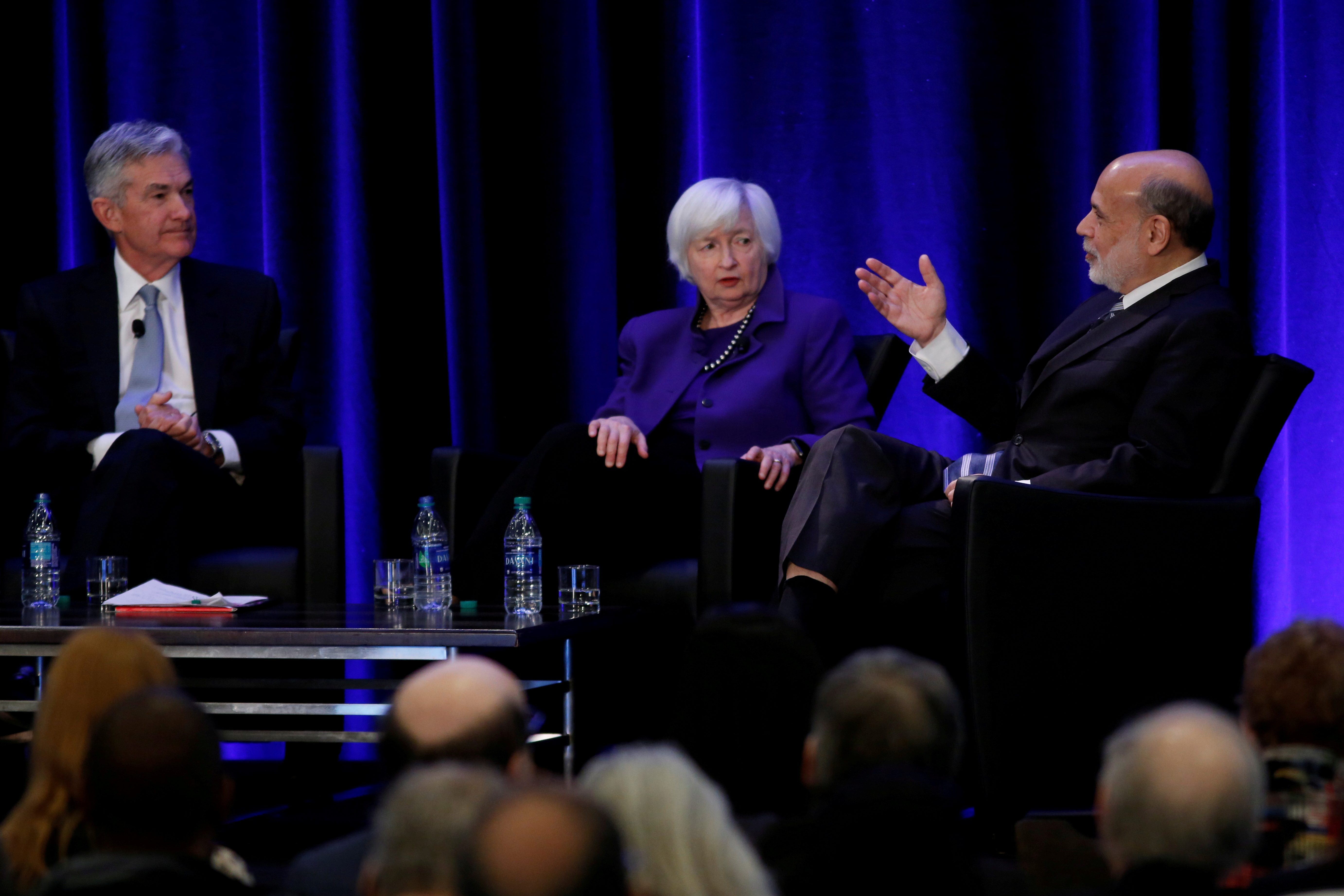 U.S. Federal Reserve Chair Jerome Powell and former Fed Chair Janet Yellen look on as former Fed Chairman Ben Bernanke speaks at the American Economic Association/Allied Social Science Association (ASSA) 2019 meeting in Atlanta, Georgia, U.S., January 4, 2019. REUTERS/Christopher Aluka Berry/File Photo