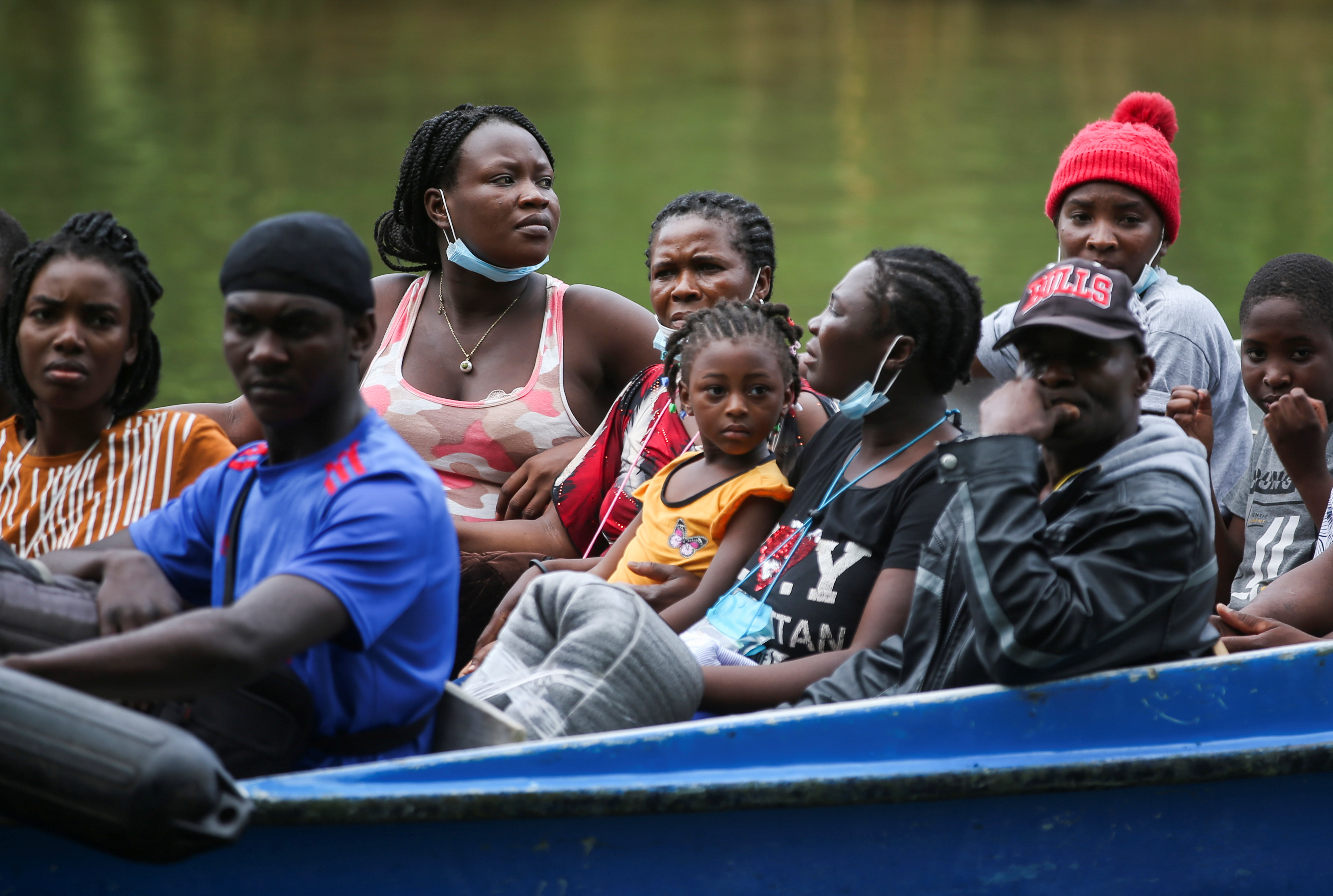 Migrants, mostly Haitians, arrive by boat in Acandi to cross into Panama and continue north, in Acandi, Colombia September 23, 2021. REUTERS/Luisa Gonzalez