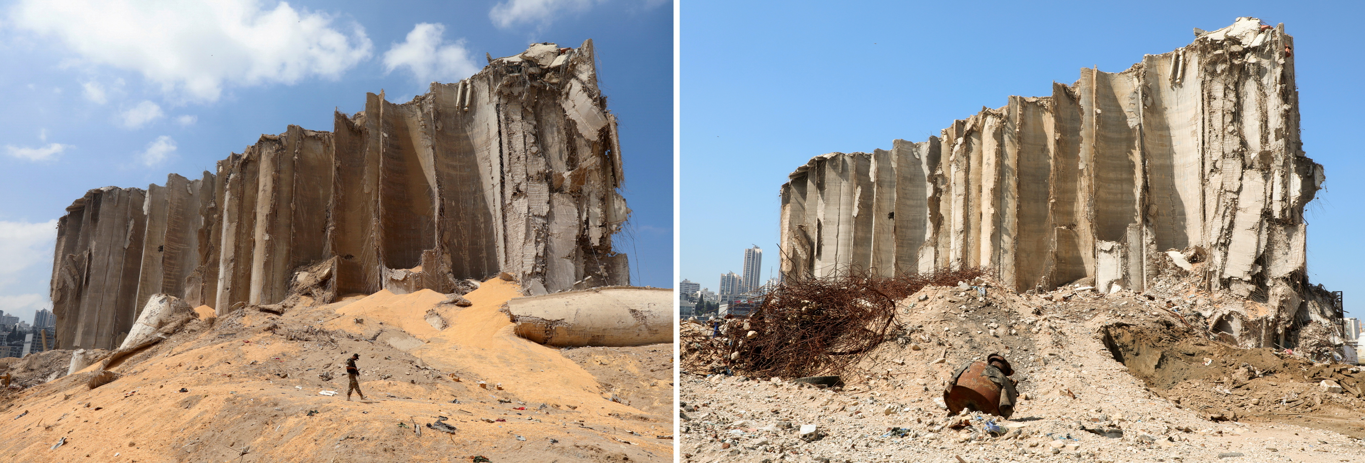 A combination picture shows the grain silo that was damaged during Aug. 4 explosion in Beirut's port, shot on August 7, 2020 and the same area after almost a year since the blast, Lebanon on July 13, 2021. REUTERS/Mohamed Azakir/File Photo