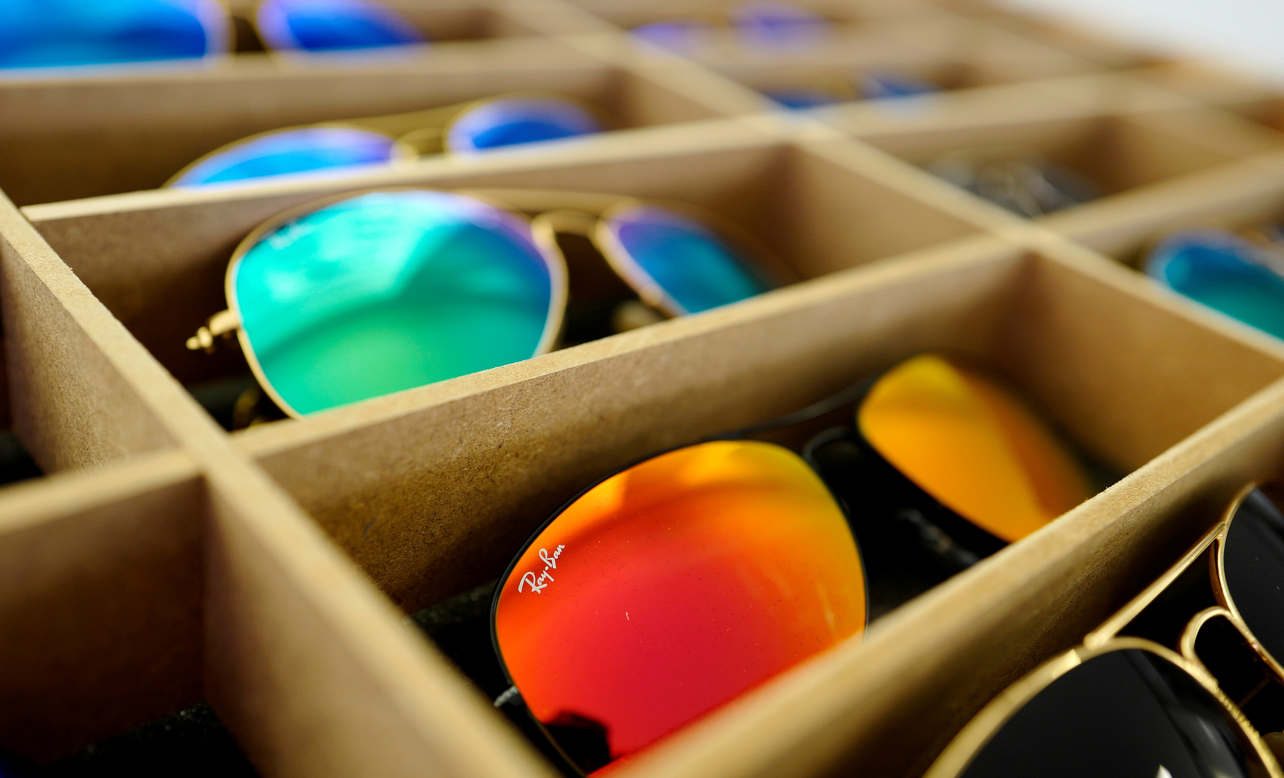 Sunglasses from Ray-Ban are on display at a optician shop in Hanau near Frankfurt, Germany, March 18, 2016. REUTERS/Kai Pfaffenbach