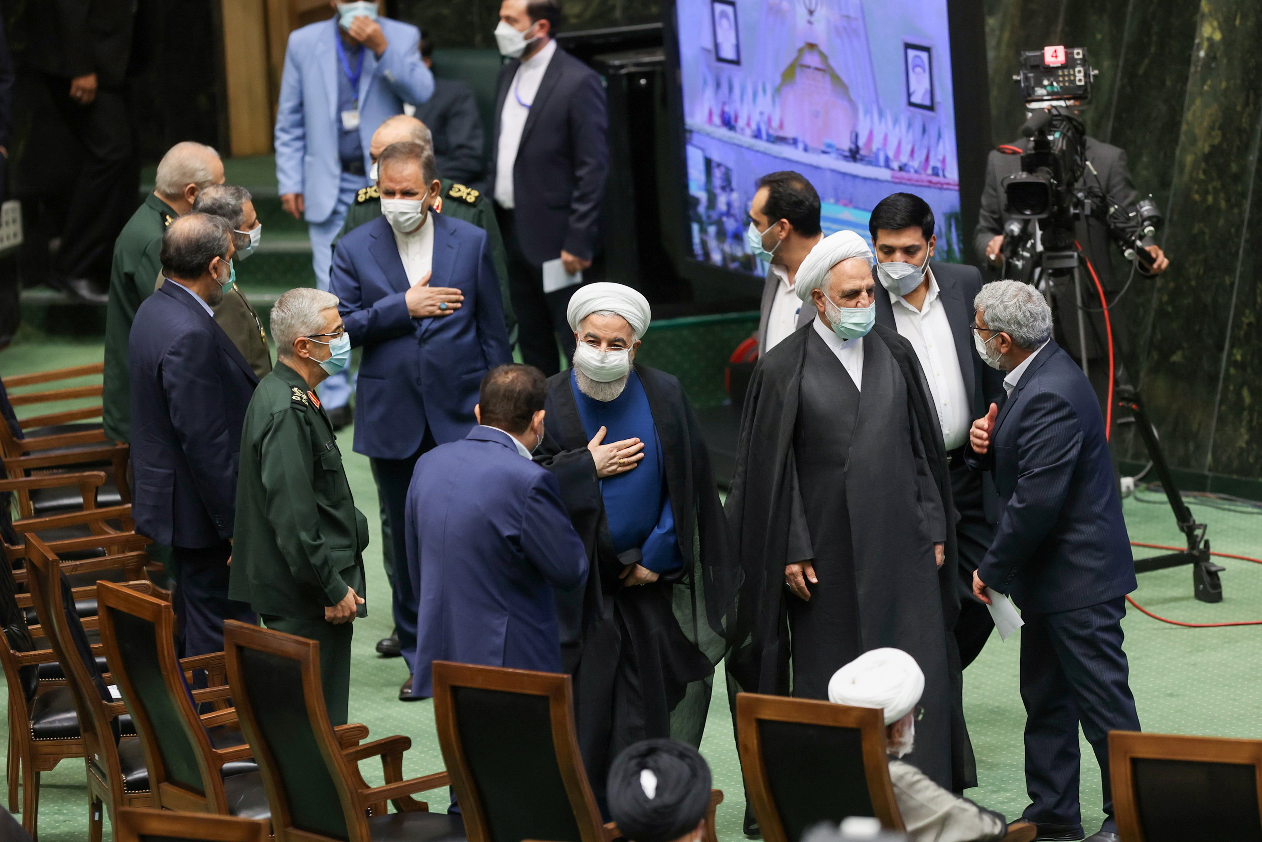 Former Iranian president Hassan Rouhani attends a swearing-in ceremony for Iran's new President Ebrahim Raisi at the parliament in Tehran, Iran, August 5, 2021. Majid Asgaripour/WANA (West Asia News Agency)/ via REUTERS