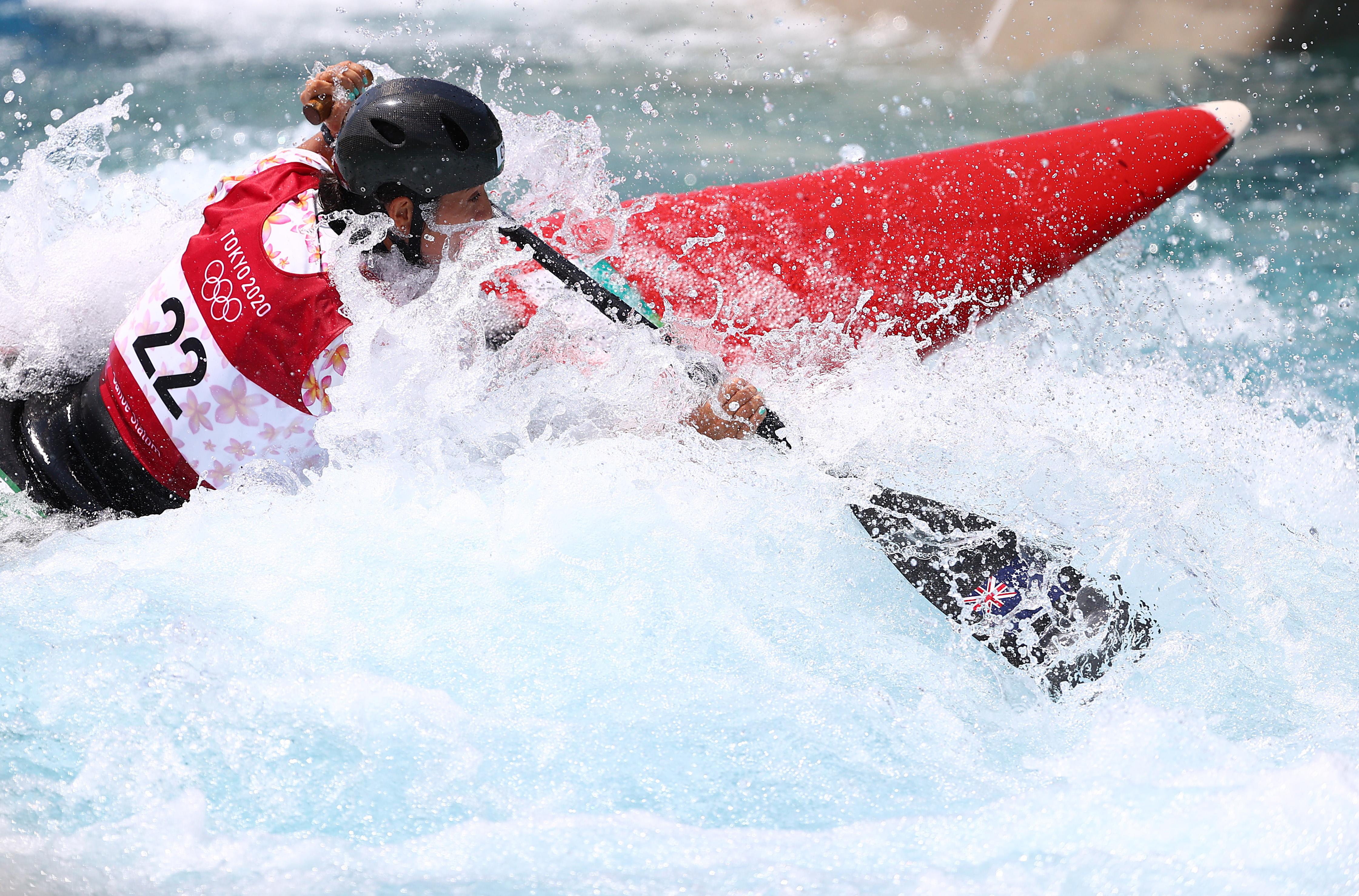 Tokyo 2020 Olympics - Canoe Slalom - Women's C1 - Heats - Kasai Canoe Slalom Centre, Tokyo, Japan - July 28, 2021. Jane Nicholas of the Cook Islands in action REUTERS/Stoyan Nenov