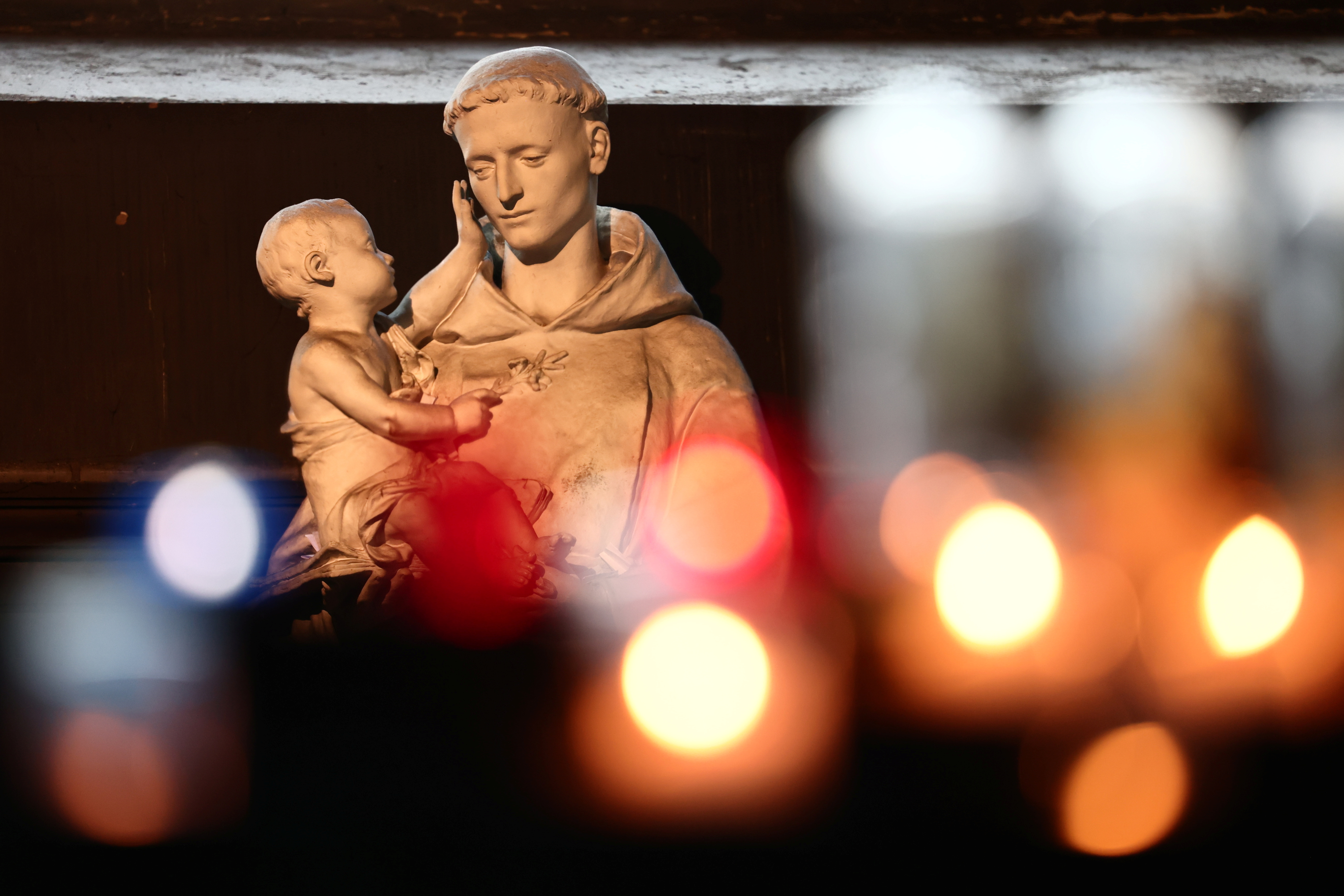 A statue of Saint Anthony of Padua is seen inside the Saint-Sulpice church in Paris, France, October 4, 2021. Picture taken October 4, 2021. REUTERS/Sarah Meyssonnier