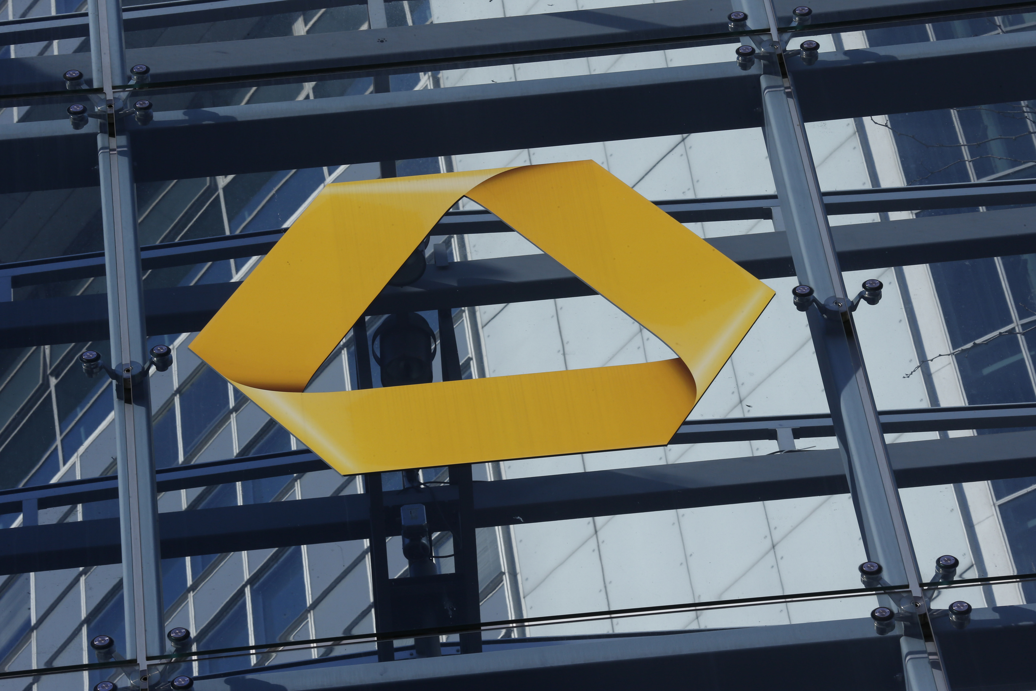 The Commerzbank logo is pictured in Frankfurt, Germany, February 12, 2016. REUTERS/Ralph Orlowski