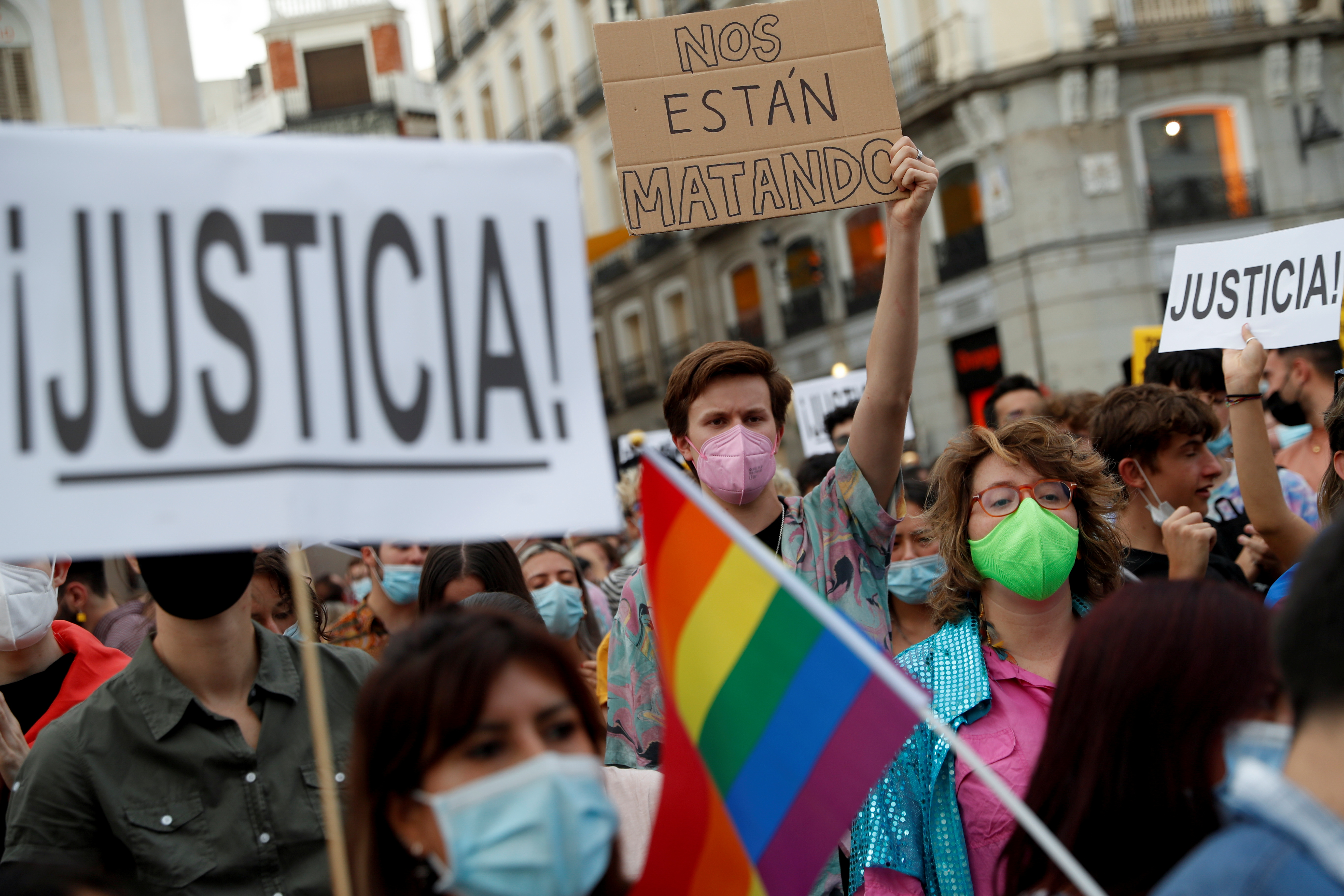 LGBTIQ+ activists and supporters demonstrate against hate crimes at Puerta del Sol square in Madrid, Spain, September 11, 2021. The signs read: