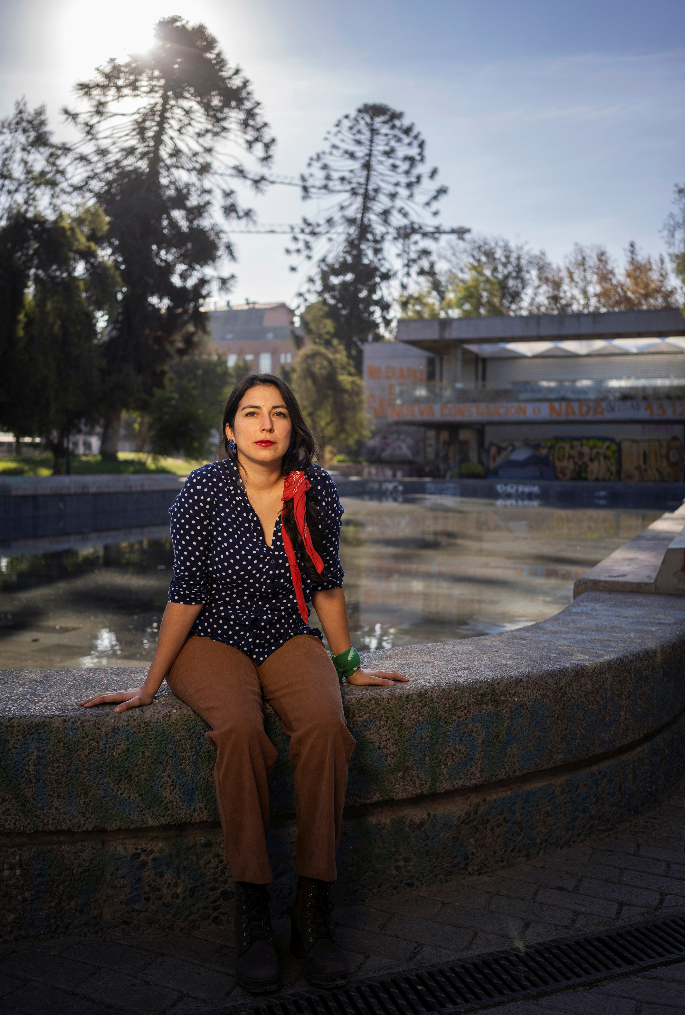 Alondra Carrillo Vidal, 29, a psychologist who acted as spokeswoman for the 8M women's movement and who was picked in the elections to represent the capital Santiago's working class southern suburbs, poses for a photograph, in Santiago, Chile May 6, 2021. Picture taken May 6, 2021.   REUTERS/Tamara Merino
