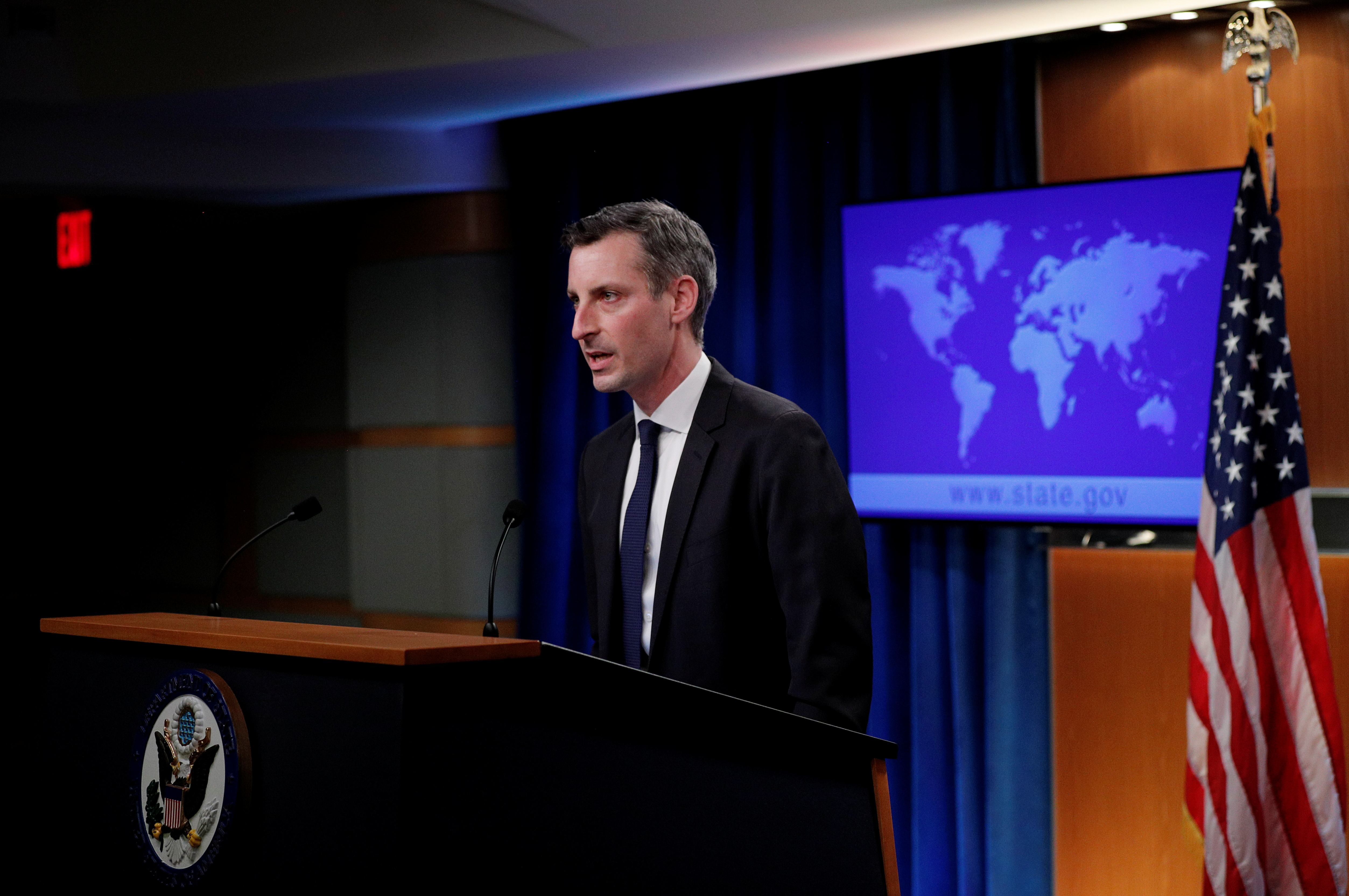U.S. State Department Spokesman Ned Price speaks to reporters during a news briefing at the State Department in Washington, U.S., March 1, 2021. REUTERS/Tom Brenner/Pool