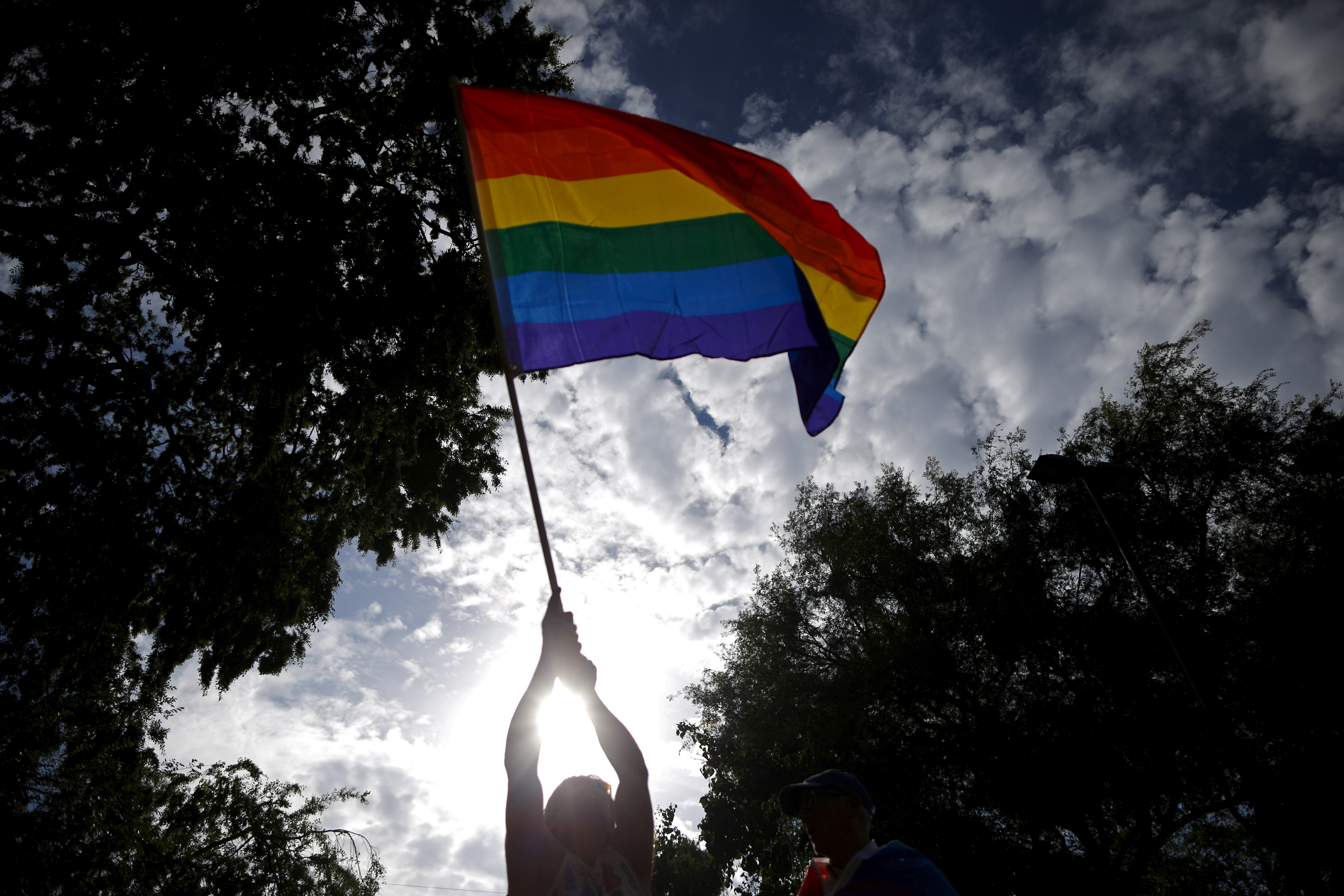 A man waves an LGBT equality rainbow flag at a celebration rally in West Hollywood, California, June 26, 2015. REUTERS/Lucy Nicholson