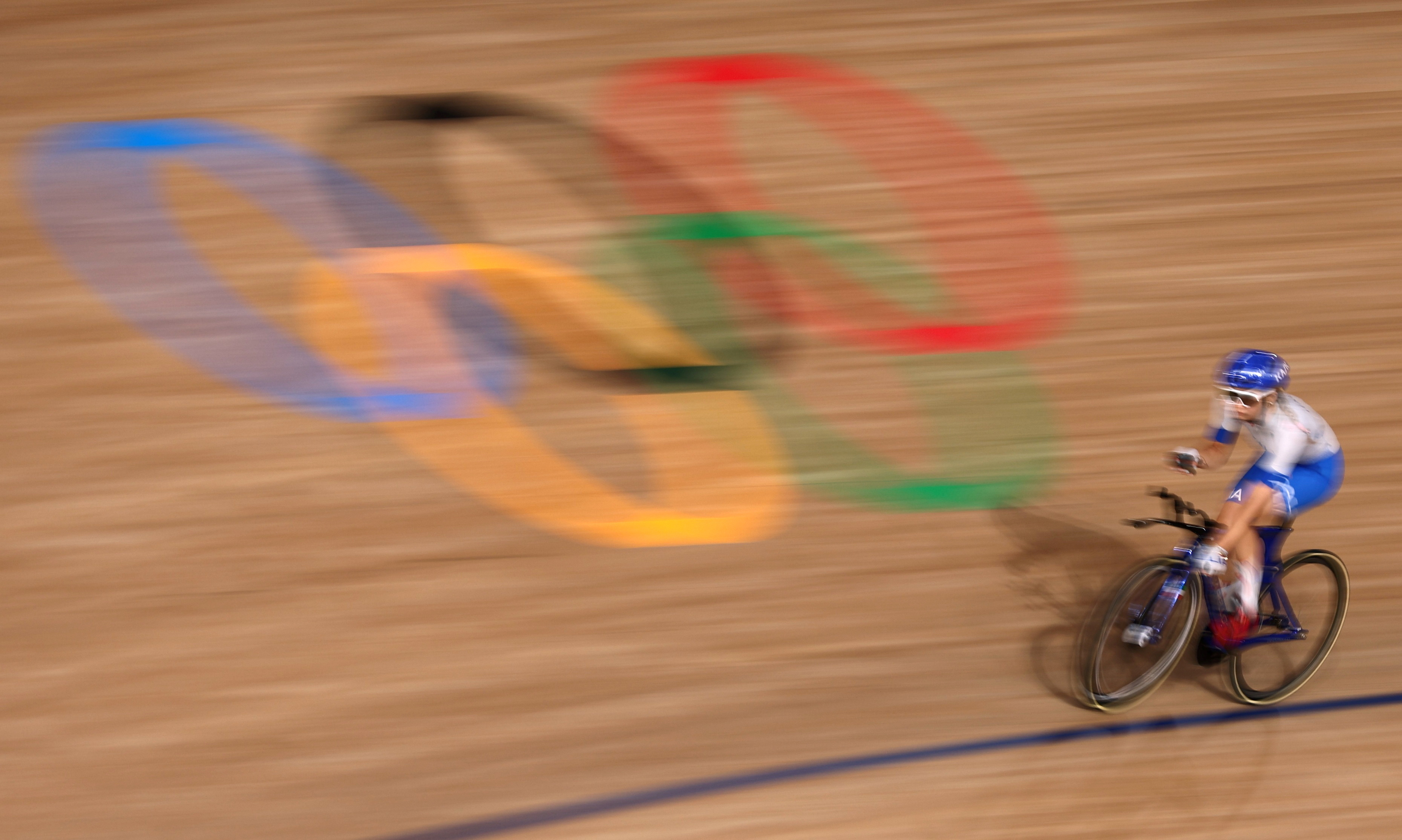 Tokyo 2020 Olympics - Cycling - Track - Women's Team Sprint - Qualification - Izu Velodrome, Shizuoka, Japan - August 2, 2021. A cyclist warms up before the event. REUTERS/Christian Hartmann