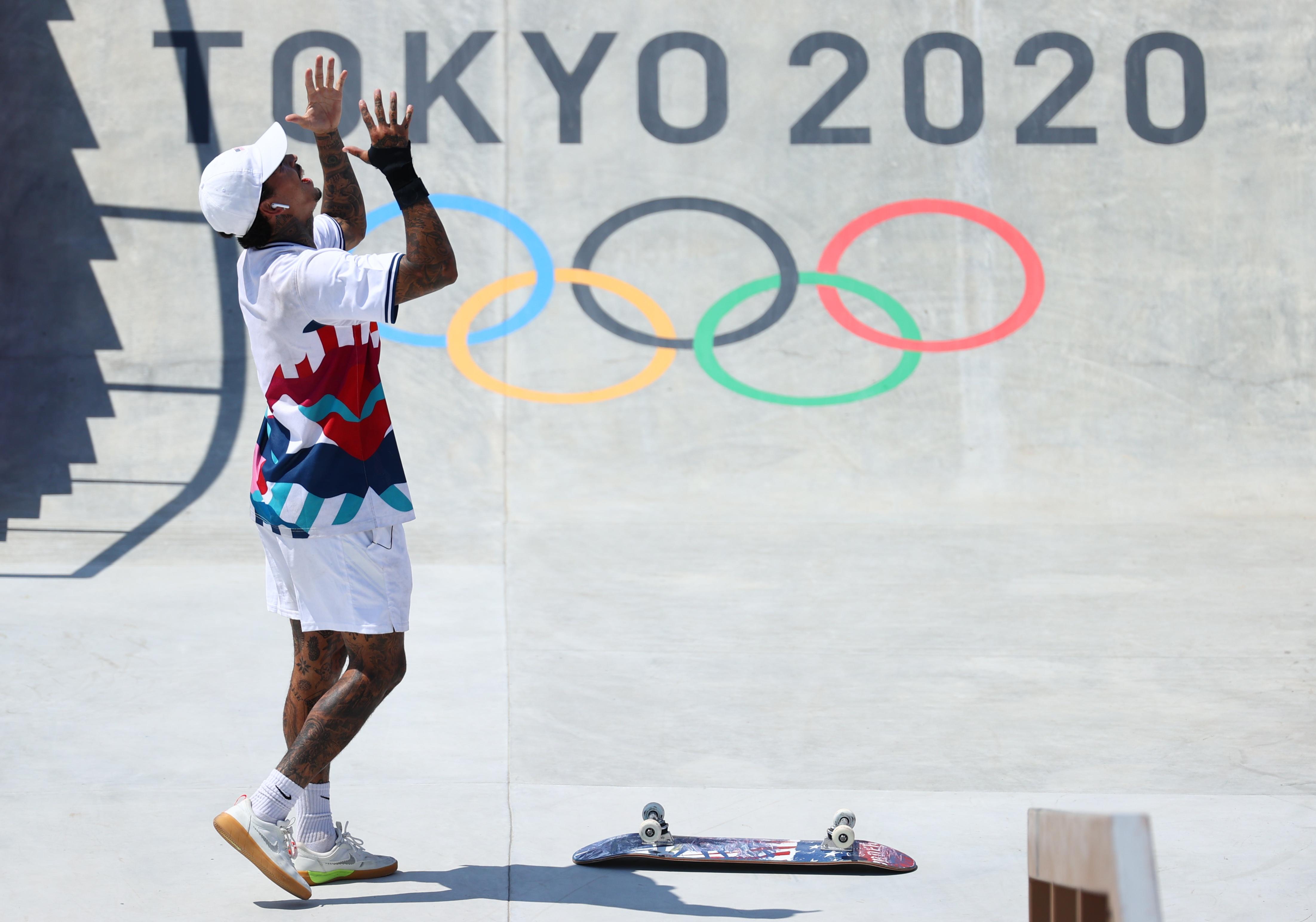 Tokyo 2020 Olympics - Skateboarding - Men's Street - Final - Ariake Urban Sports Park - Tokyo, Japan - July 25, 2021. Nyjah Huston of the United States reacts. REUTERS/Lucy Nicholson