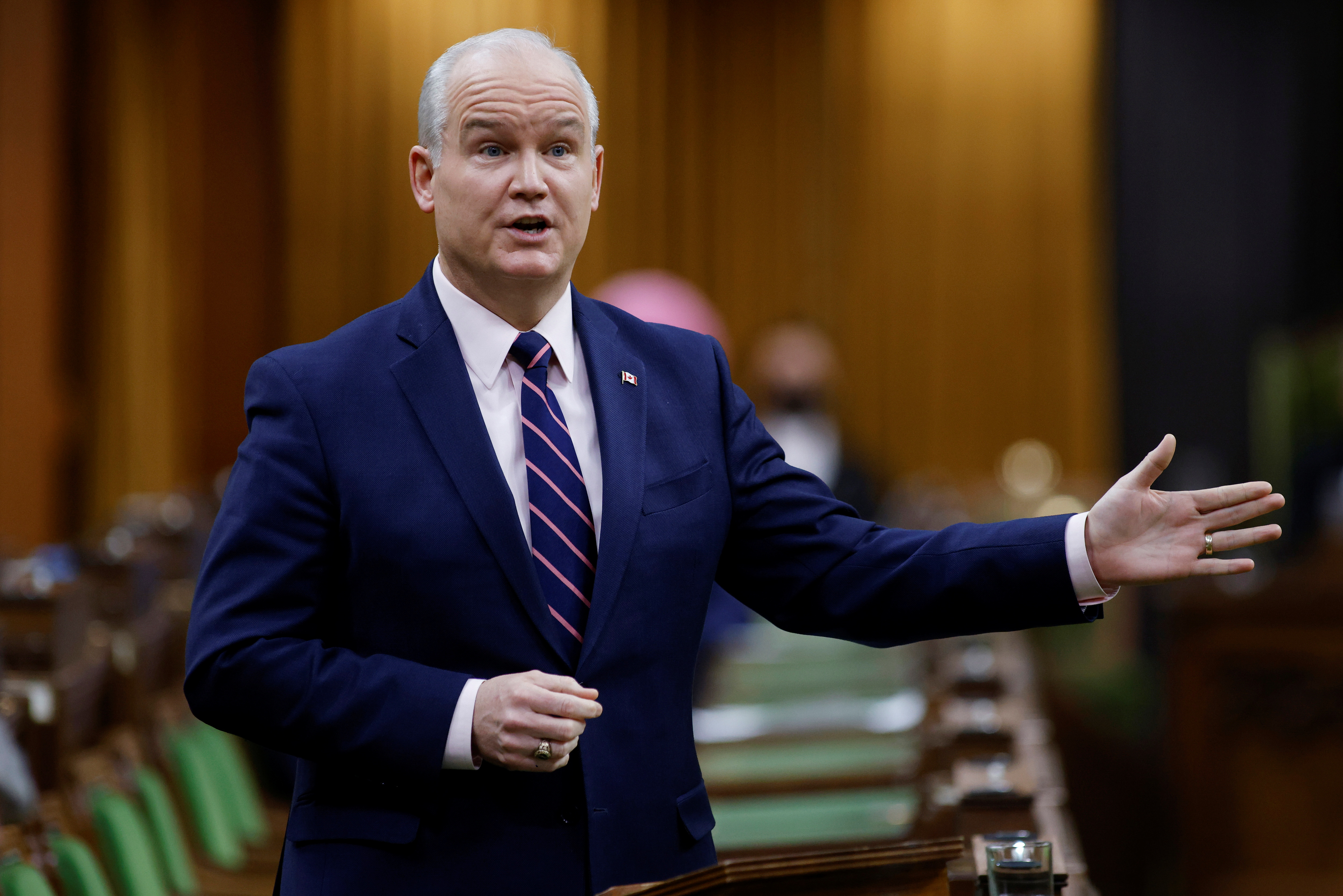 Canada's Conservative Party leader Erin O'Toole gestures as he speaks during Question Period, as efforts continue to help slow the spread of the coronavirus disease (COVID-19), in the House of Commons on Parliament Hill in Ottawa, Ontario, Canada February 24, 2021. REUTERS/Blair Gable