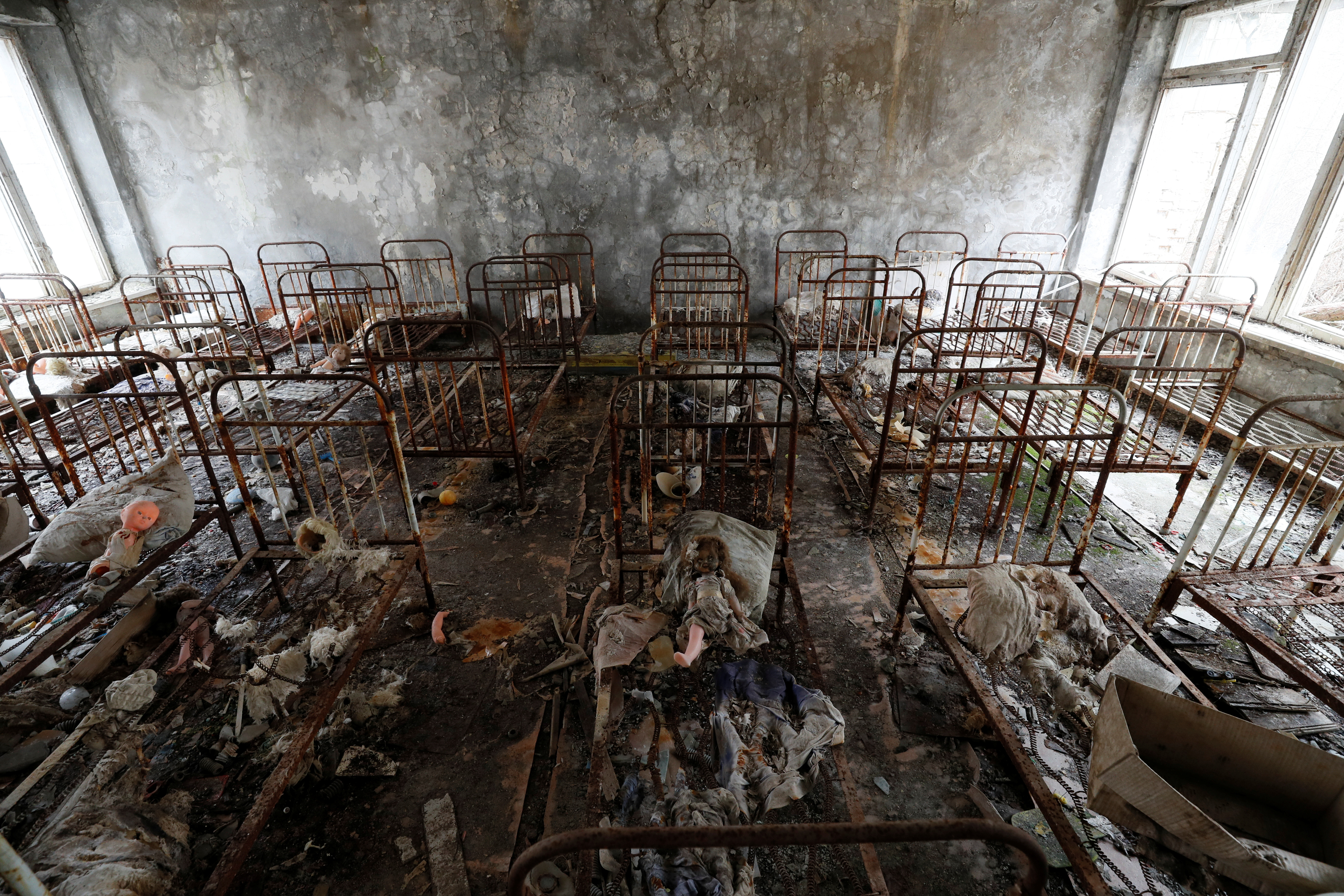 Children's beds are seen in a kindergarten near the Chernobyl Nuclear Power Plant in the abandoned city of Pripyat, Ukraine April 12, 2021. Picture taken April 12, 2021. REUTERS/Gleb Garanich