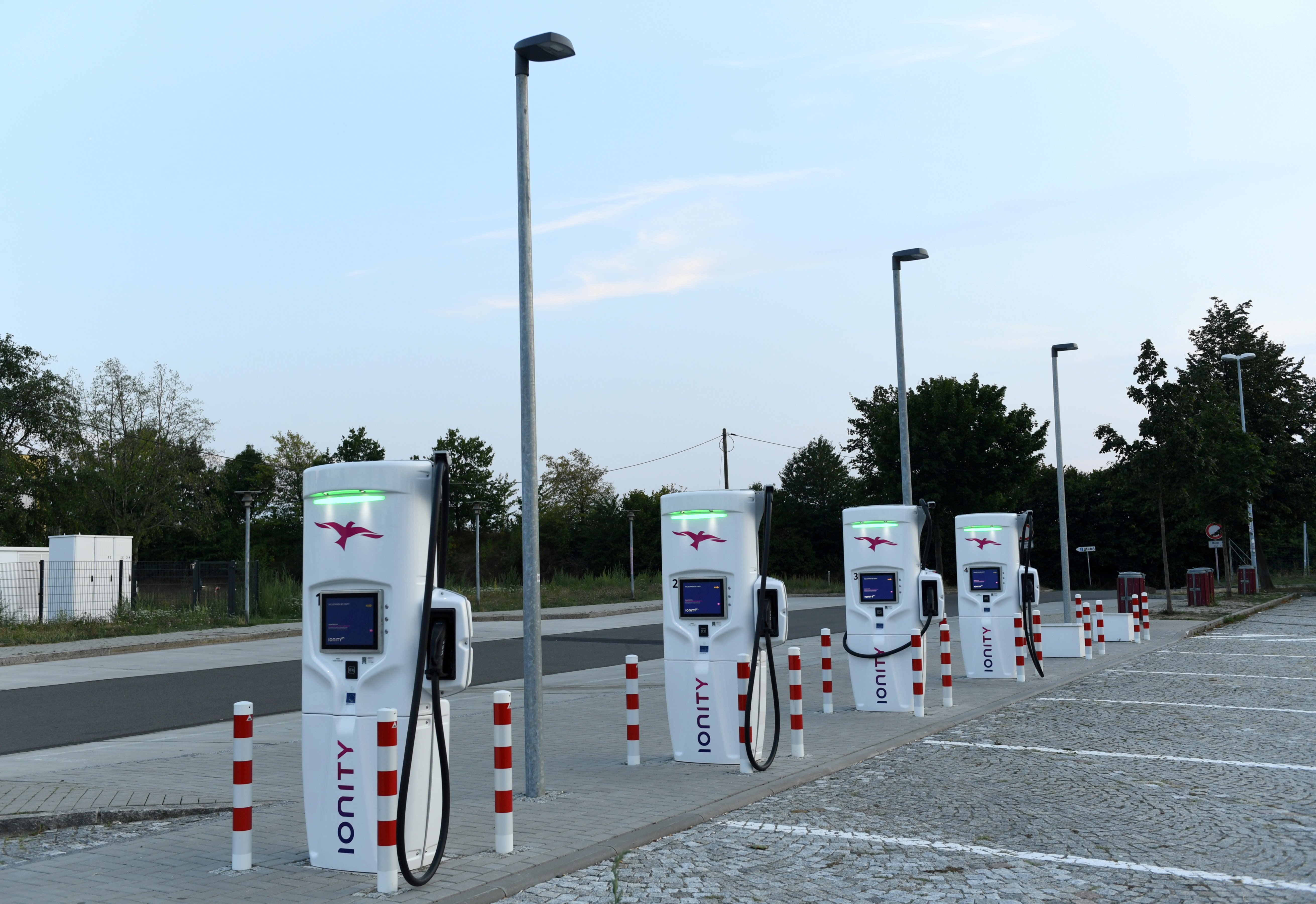 An Ionity electric vehicle charging station is pictured on the motorway service station