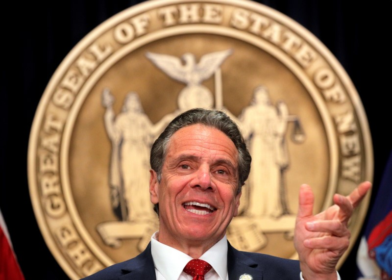 New York Governor Andrew Cuomo speaks during a news conference at his offices in New York City, March 24, 2021. REUTERS/Brendan McDermid